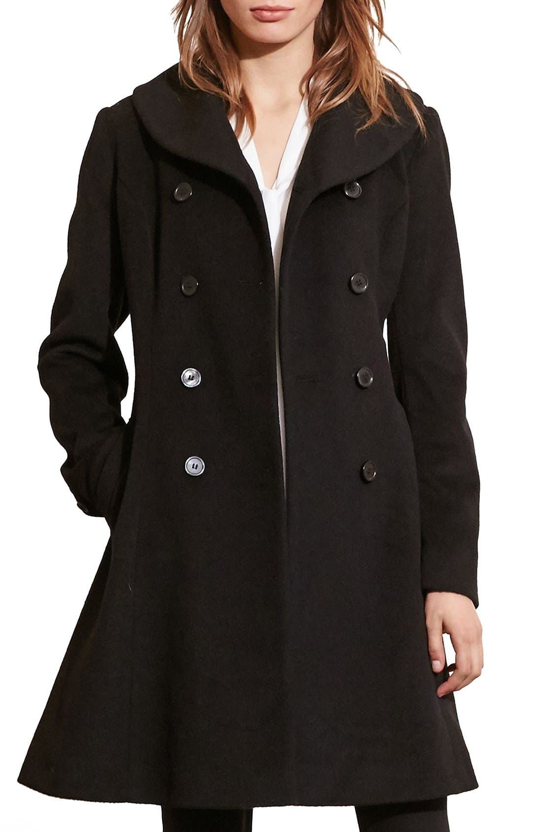 Fit & Flare Military Coat,                         Main,                         color, BLACK