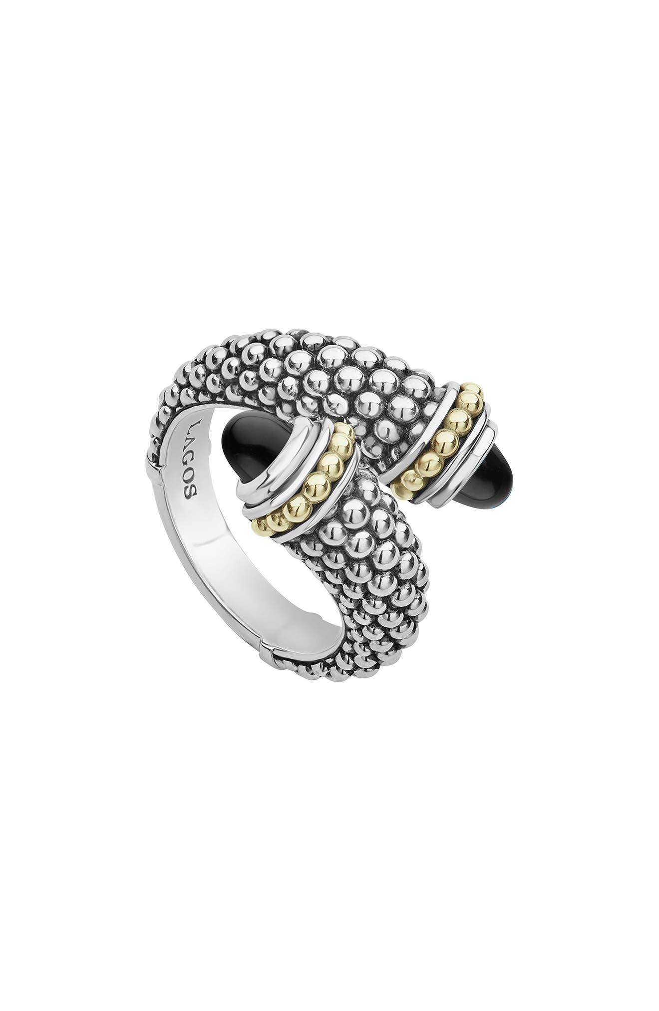 Signature Caviar Crossover Ring,                         Main,                         color, SILVER/ BLACK ONYX
