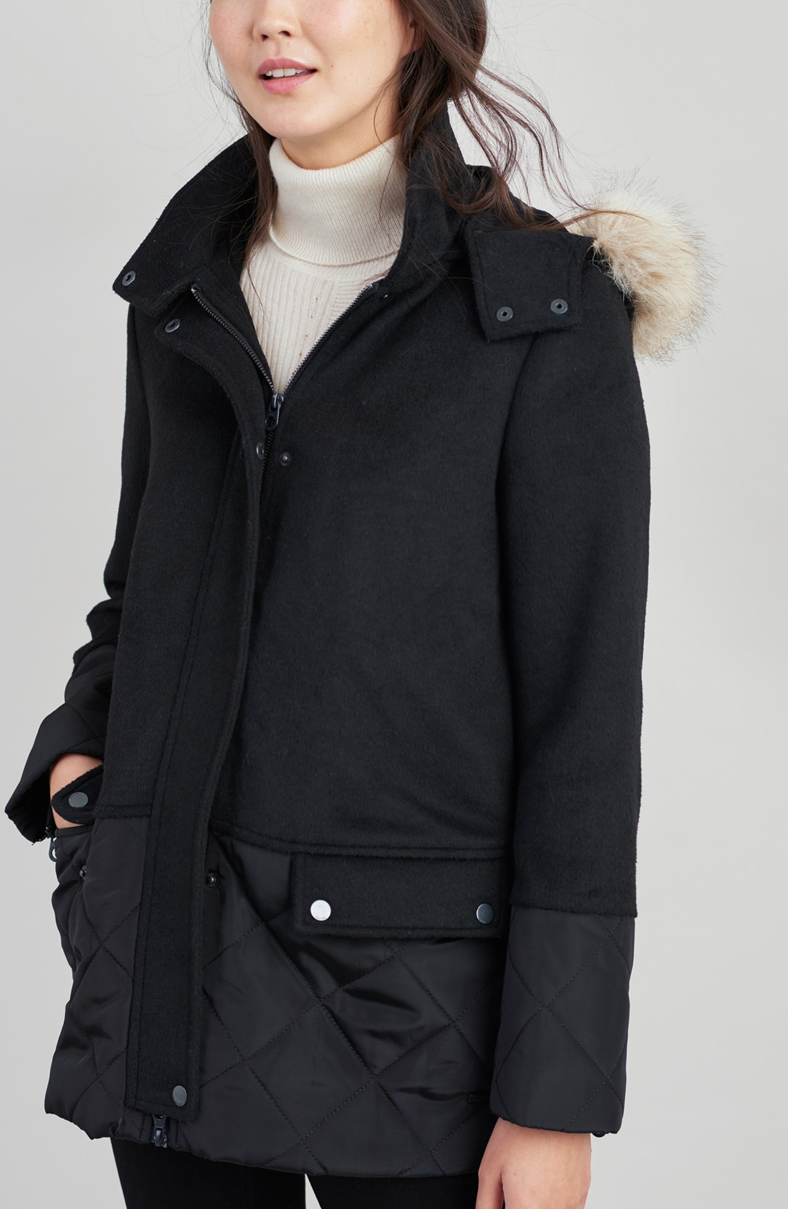 Mixed Texture Hooded Coat with Faux Fur Trim,                             Alternate thumbnail 14, color,                             BLACK