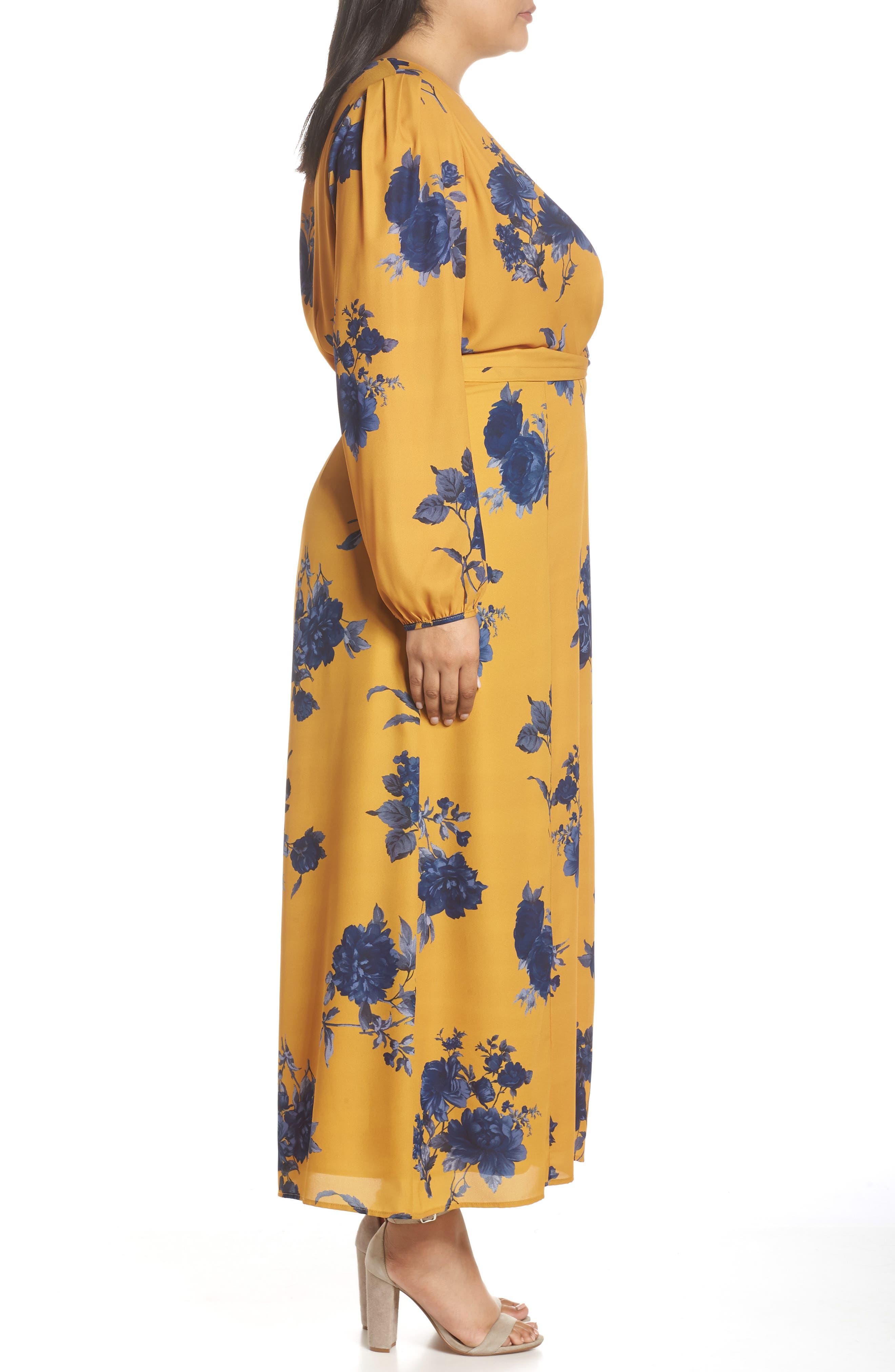 CHELSEA28,                             Floral Print Faux Wrap Maxi Dress,                             Alternate thumbnail 3, color,                             YELLOW NAVY