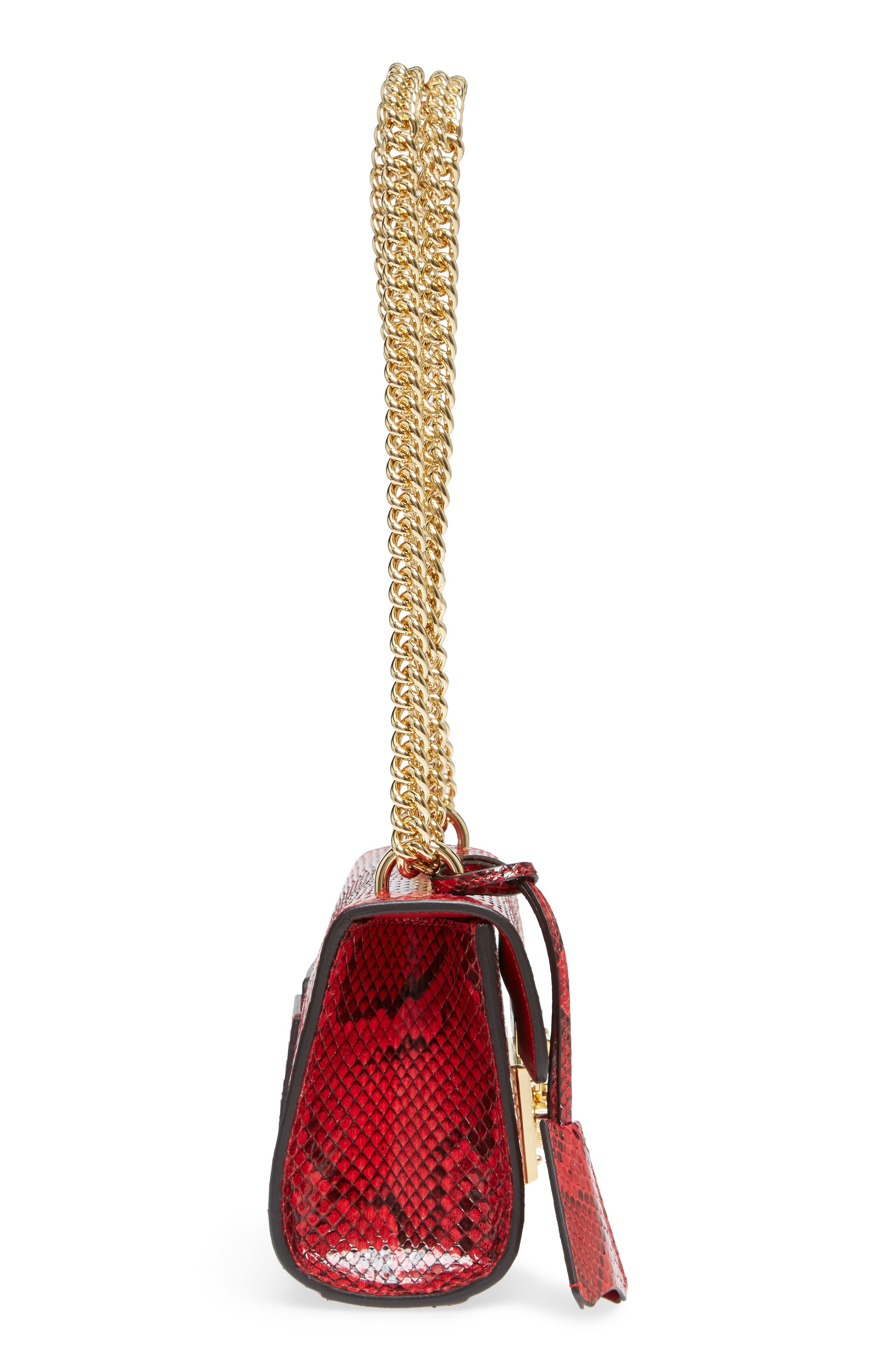 Small Padlock - Genuine Python Shoulder Bag,                             Alternate thumbnail 5, color,                             HIBISCUS RED