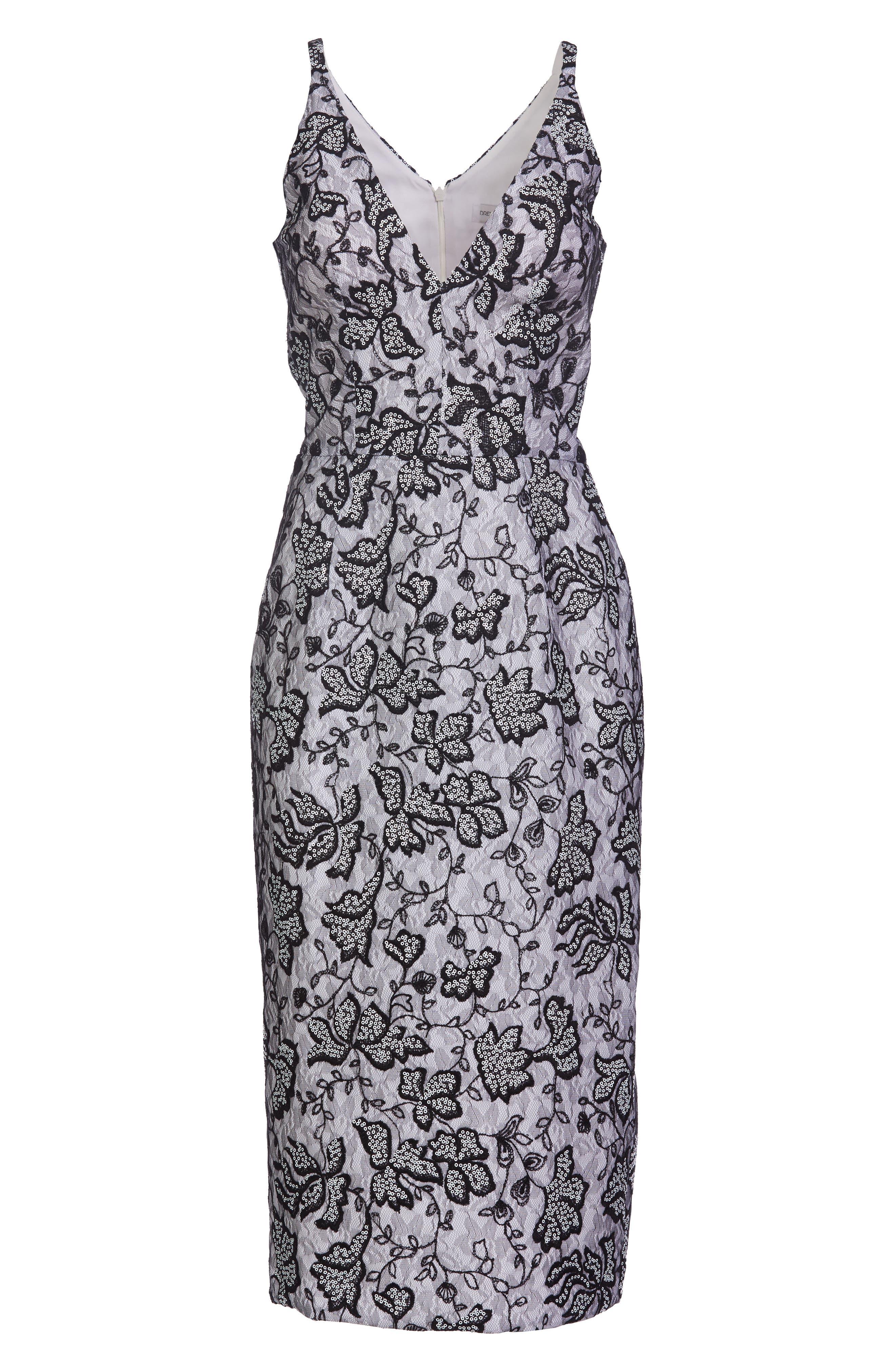 Nadia Plunge V-Neck Lace Dress,                             Alternate thumbnail 4, color,                             WHITE/ BLACK
