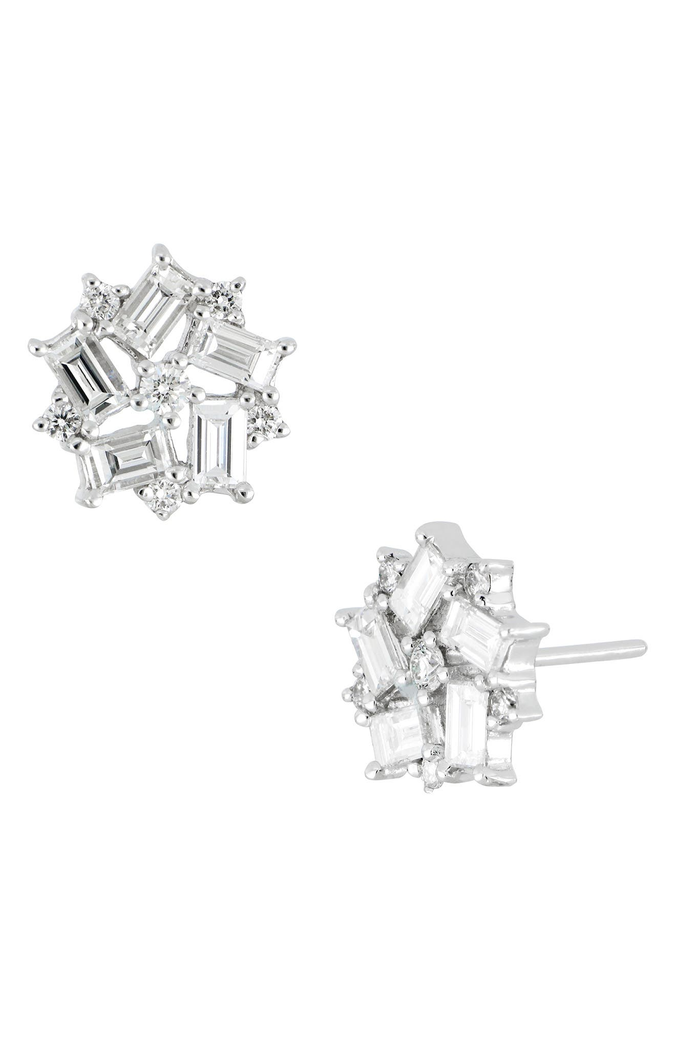 Diamond Baguette Flower Stud Earrings,                             Main thumbnail 1, color,                             101