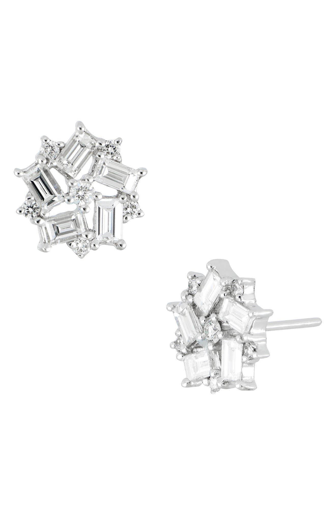 Diamond Baguette Flower Stud Earrings, Main, color, 101