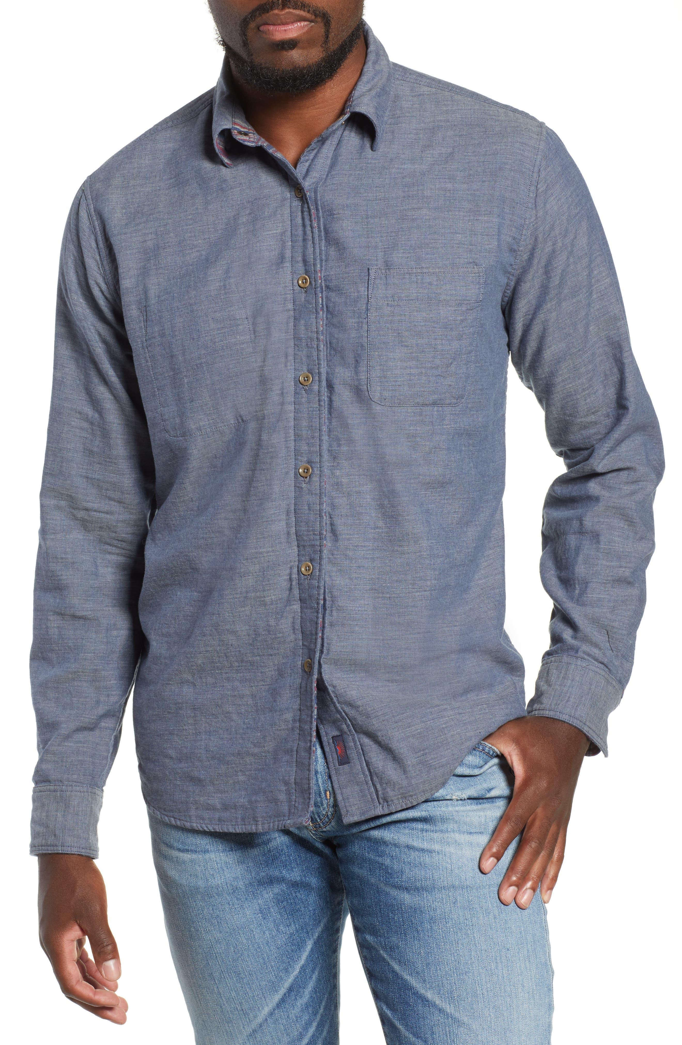 Belmar Reversible Sport Shirt,                         Main,                         color, SLATE HEATHER / SERAPE