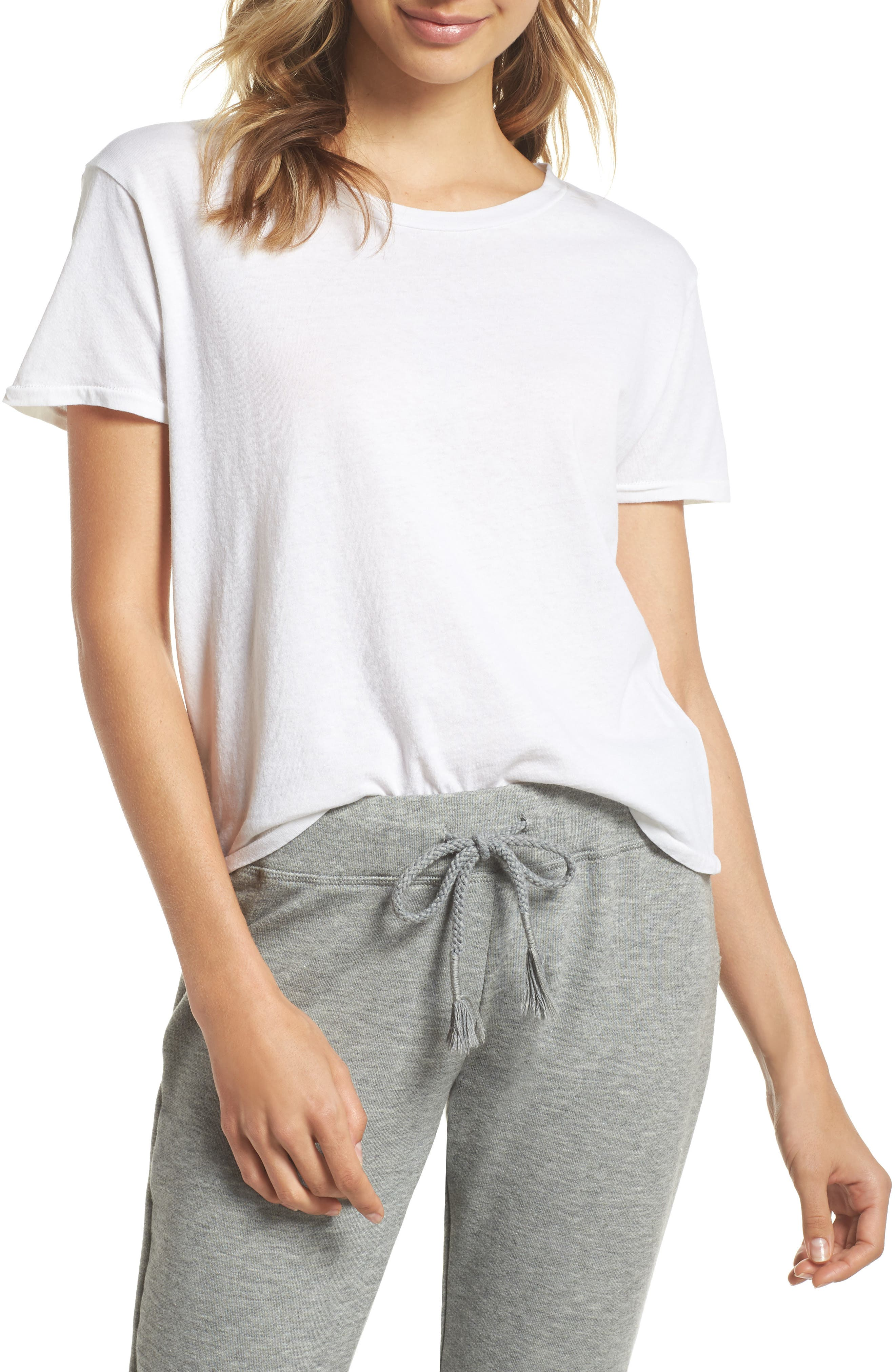 Crop Lounge Tee,                             Main thumbnail 1, color,                             100