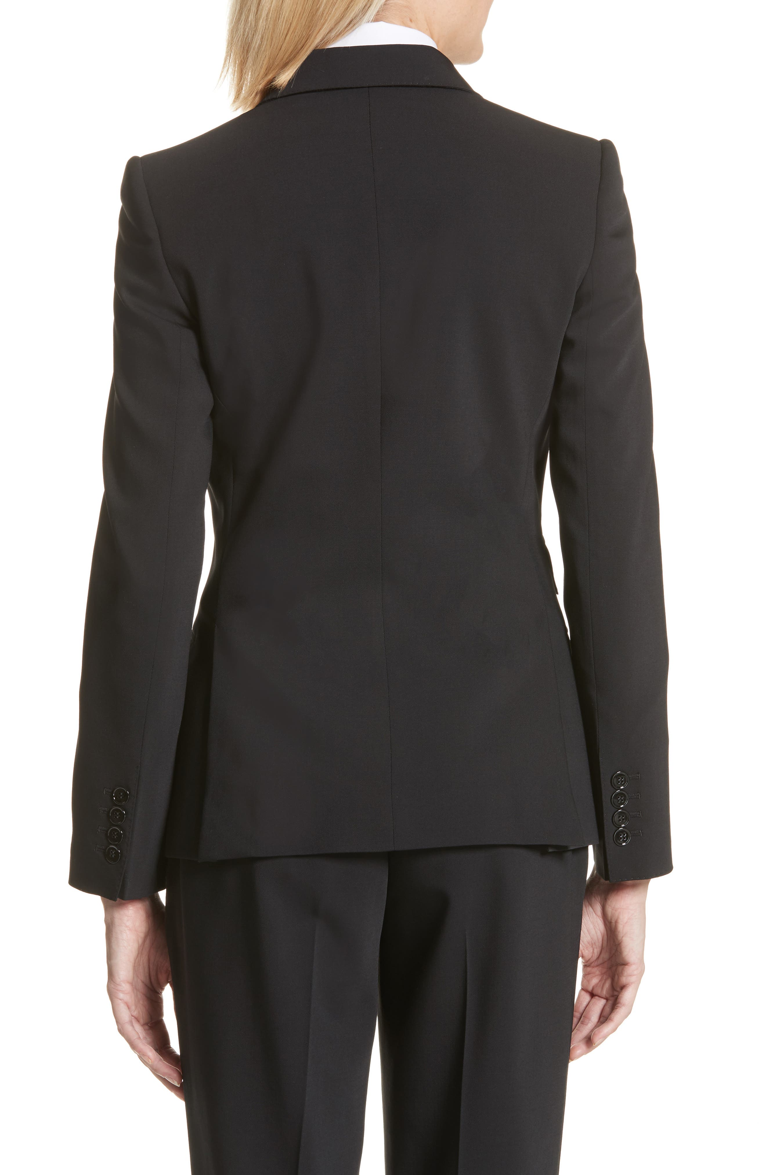 Two Button Stretch Wool Jacket,                             Alternate thumbnail 2, color,                             BLACK