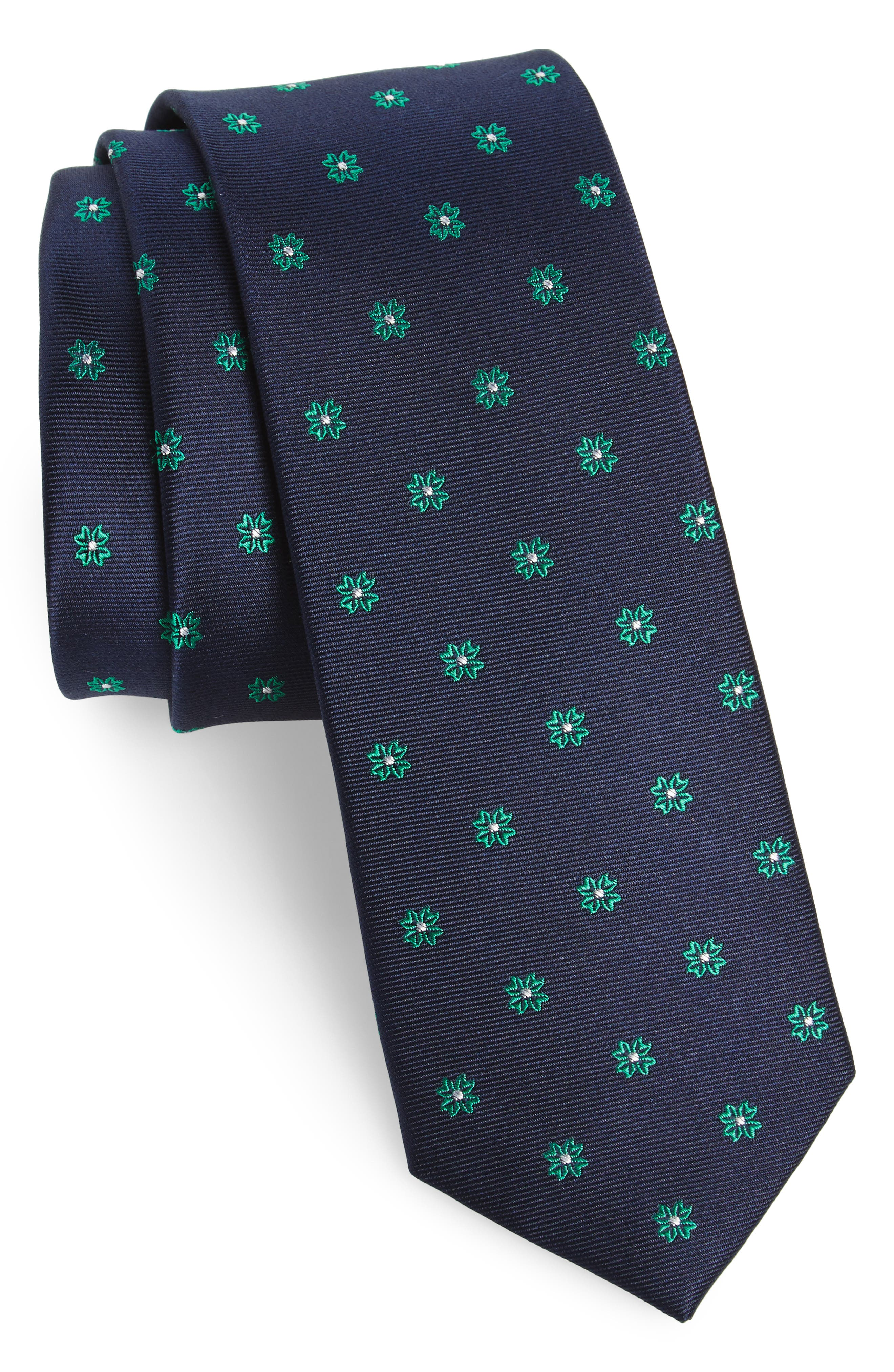 Primrose Flowers Silk Skinny Tie,                             Main thumbnail 1, color,
