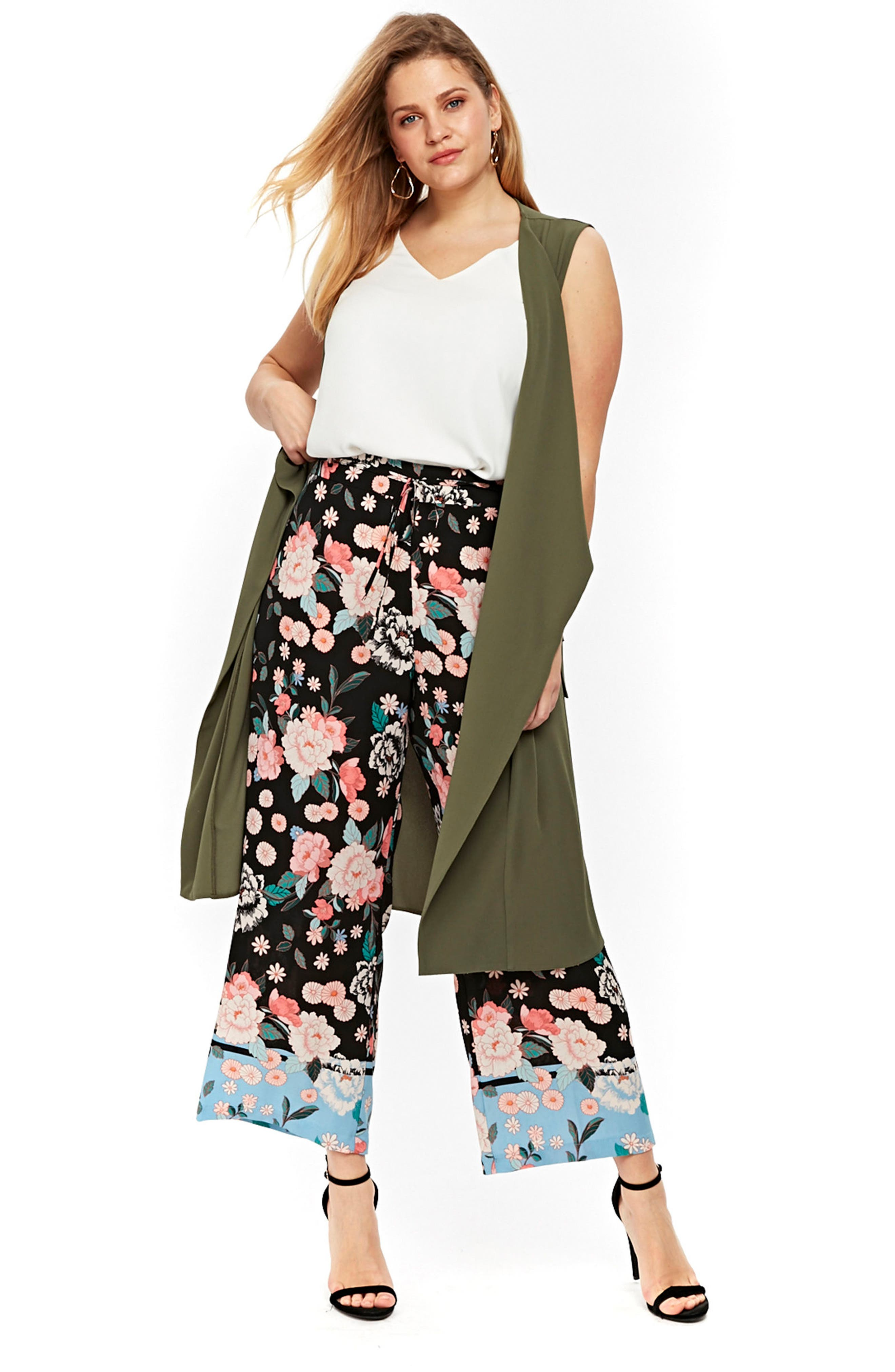 Border Floral Wide Leg Pants,                             Alternate thumbnail 4, color,                             001