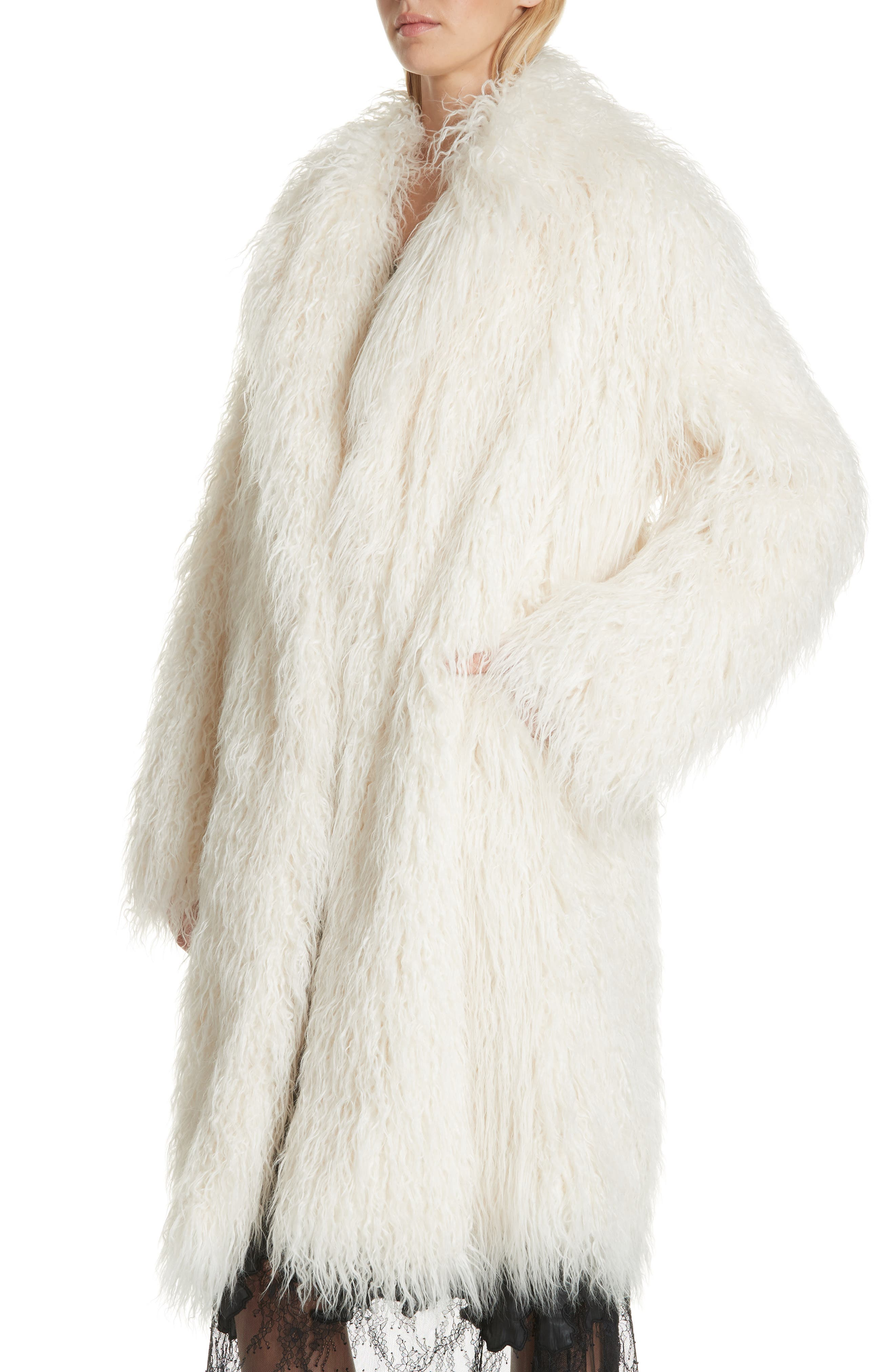 Mongolian Faux Fur Coat,                             Alternate thumbnail 4, color,                             IVORY