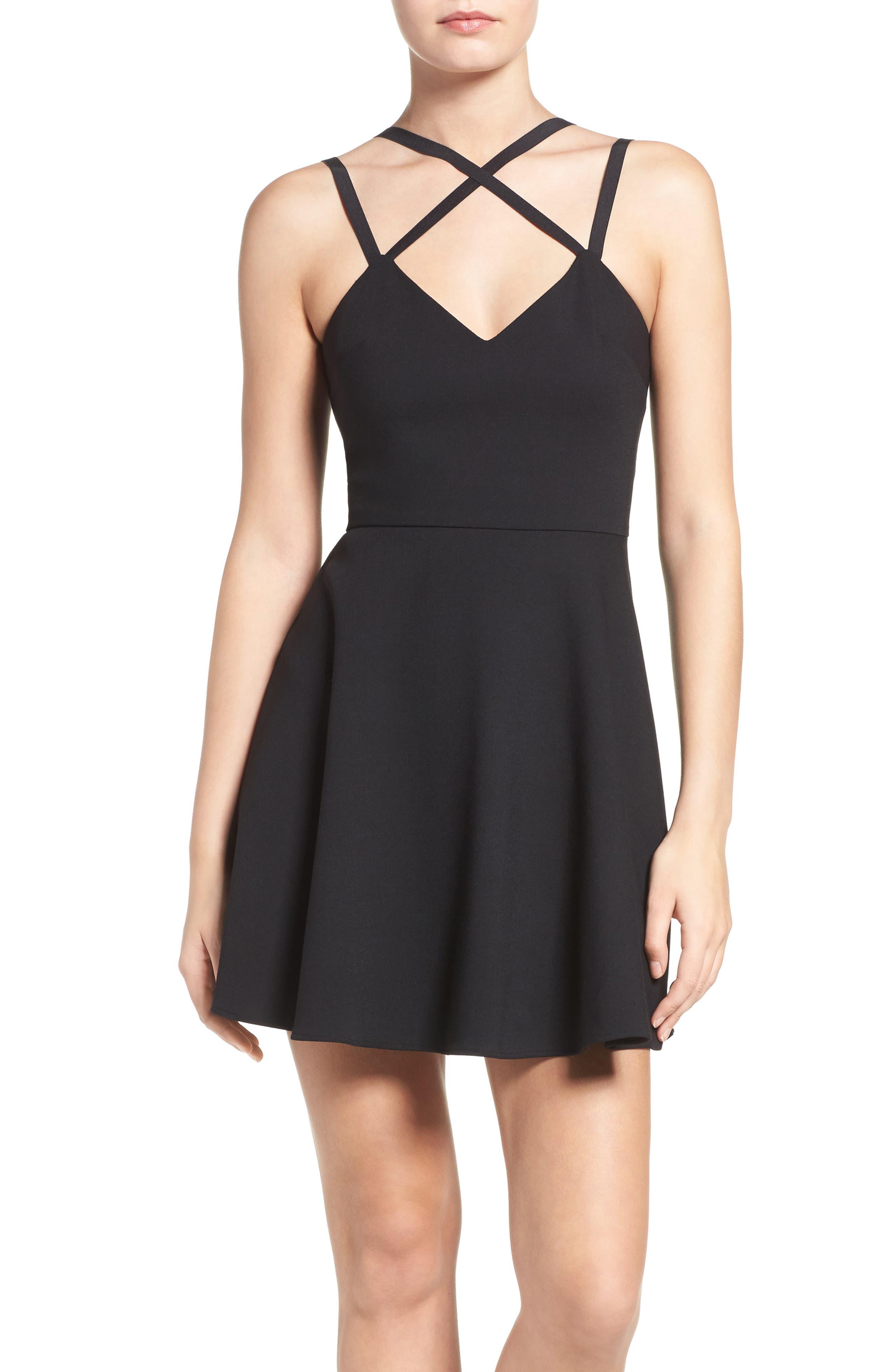 Whisper Light Fit & Flare Dress,                             Main thumbnail 1, color,                             BLACK