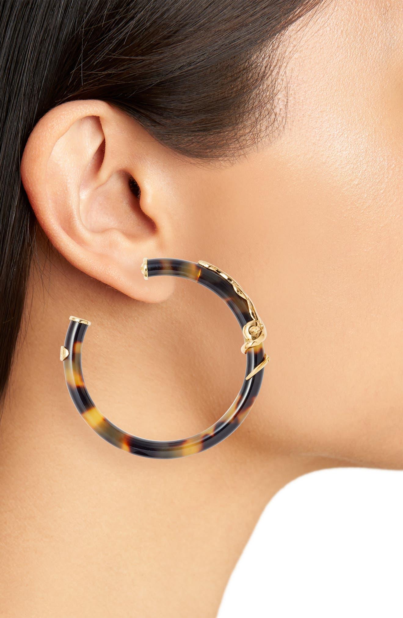 Cobra Hoop Earrings,                             Alternate thumbnail 2, color,                             TORTOISE/ TIGE