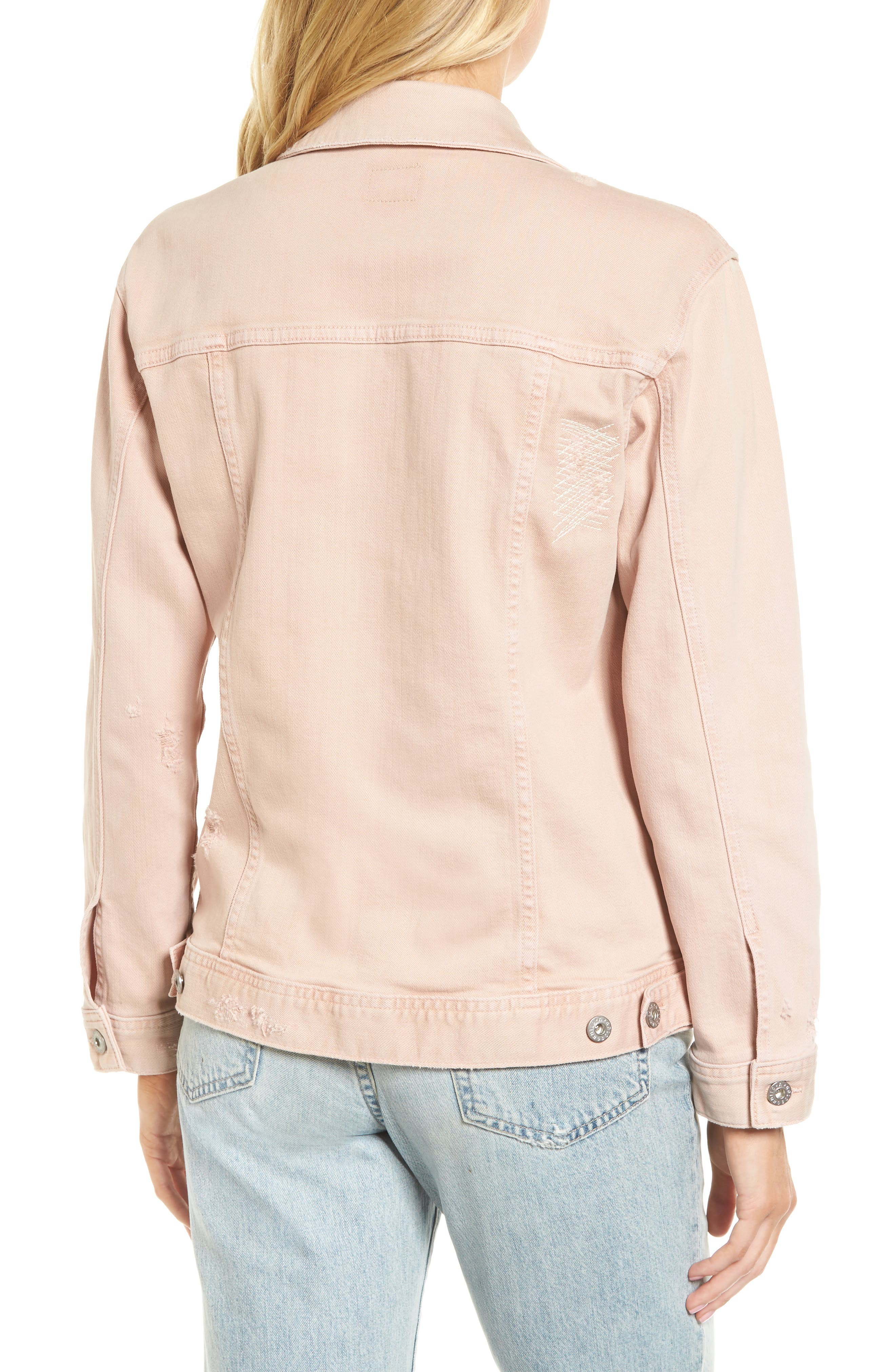 Nancy Distressed Denim Jacket,                             Alternate thumbnail 2, color,                             651