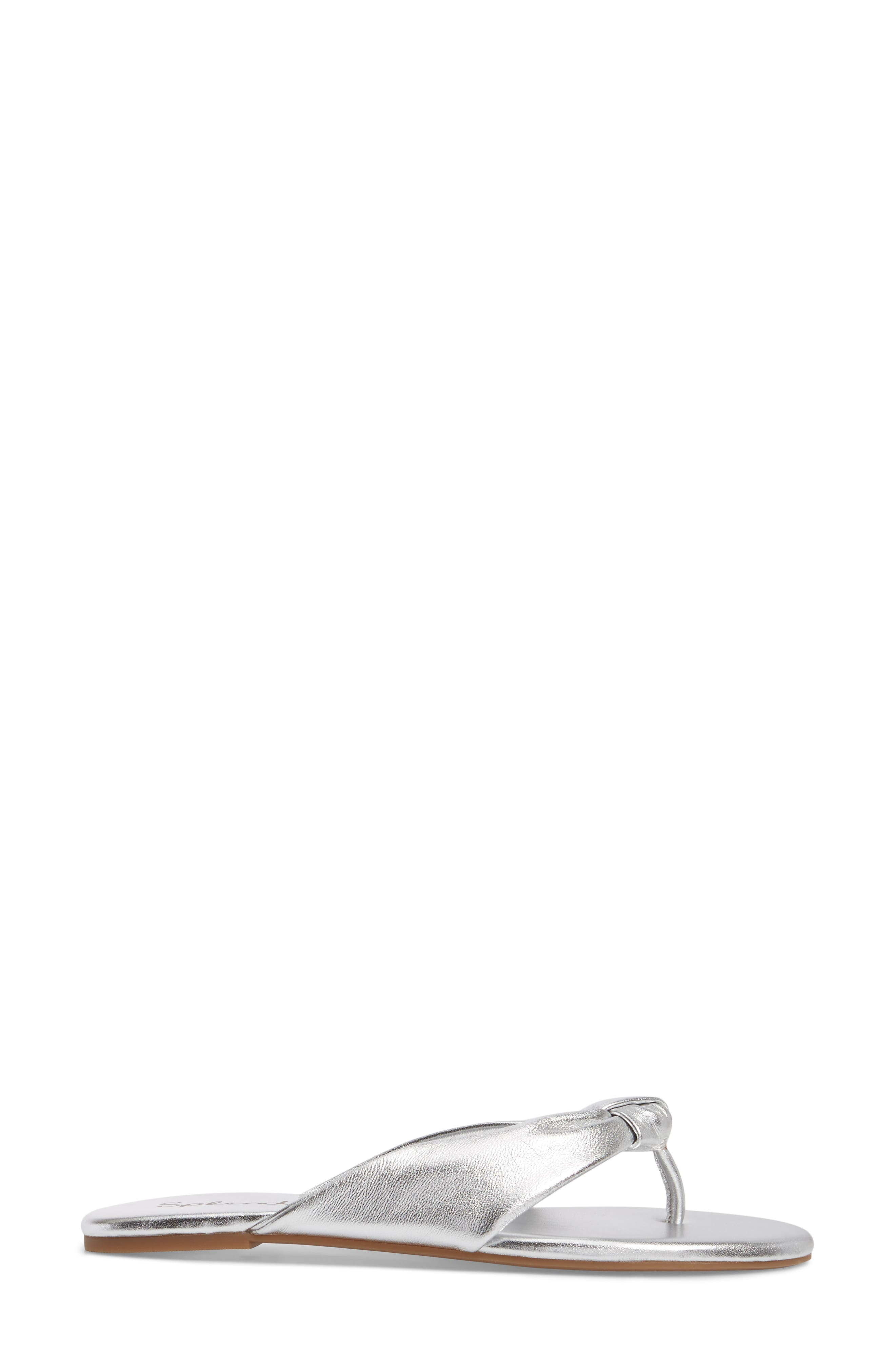 Bridgette Knotted Flip Flop,                             Alternate thumbnail 3, color,                             SILVER METALLIC LEATHER