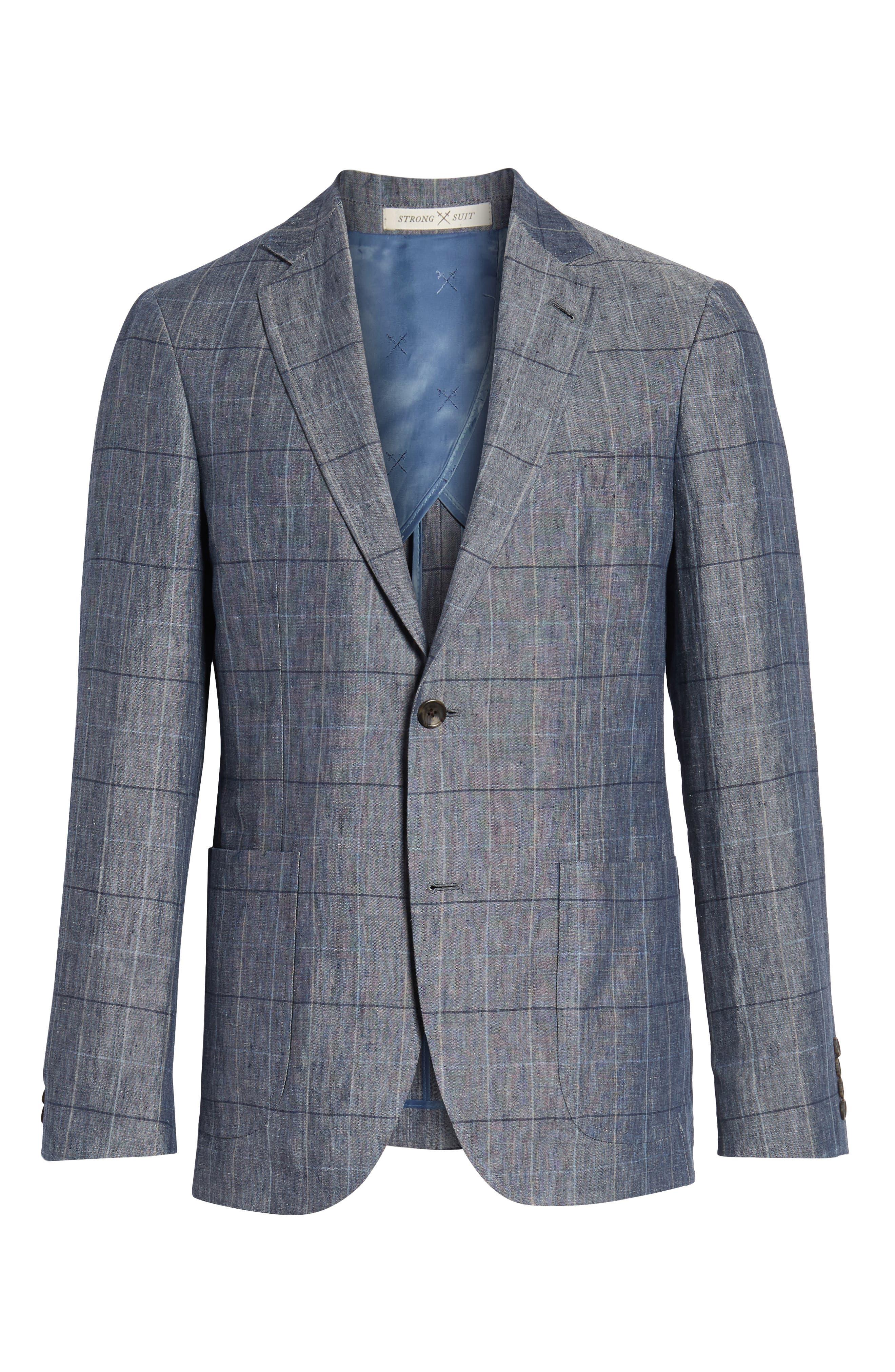 Vantage Trim Fit Windowpane Linen Sport Coat,                             Alternate thumbnail 5, color,                             400