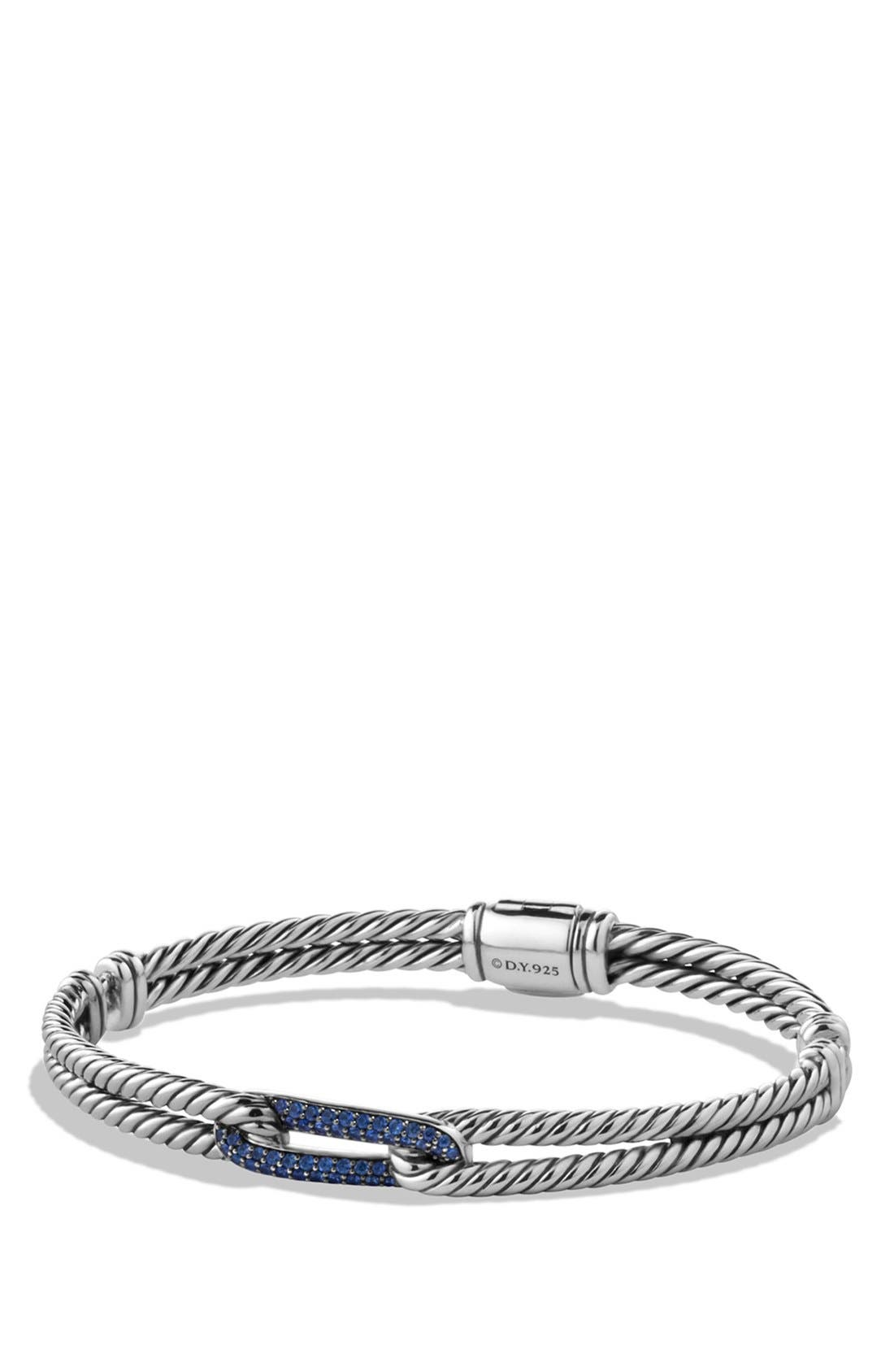 DAVID YURMAN,                             'Labyrinth' Petite Pavé Single-Loop Bracelet with Sapphires,                             Main thumbnail 1, color,                             BLUE SAPPHIRE