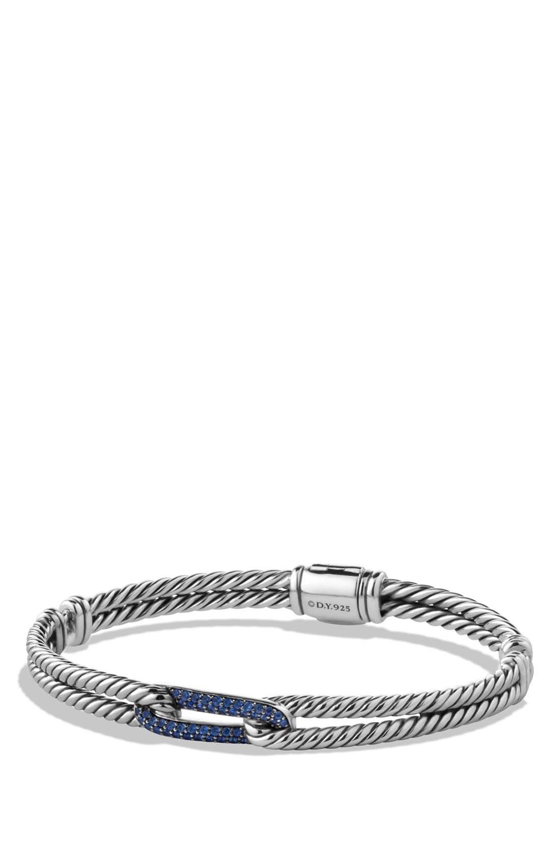 DAVID YURMAN 'Labyrinth' Petite Pavé Single-Loop Bracelet with Sapphires, Main, color, BLUE SAPPHIRE