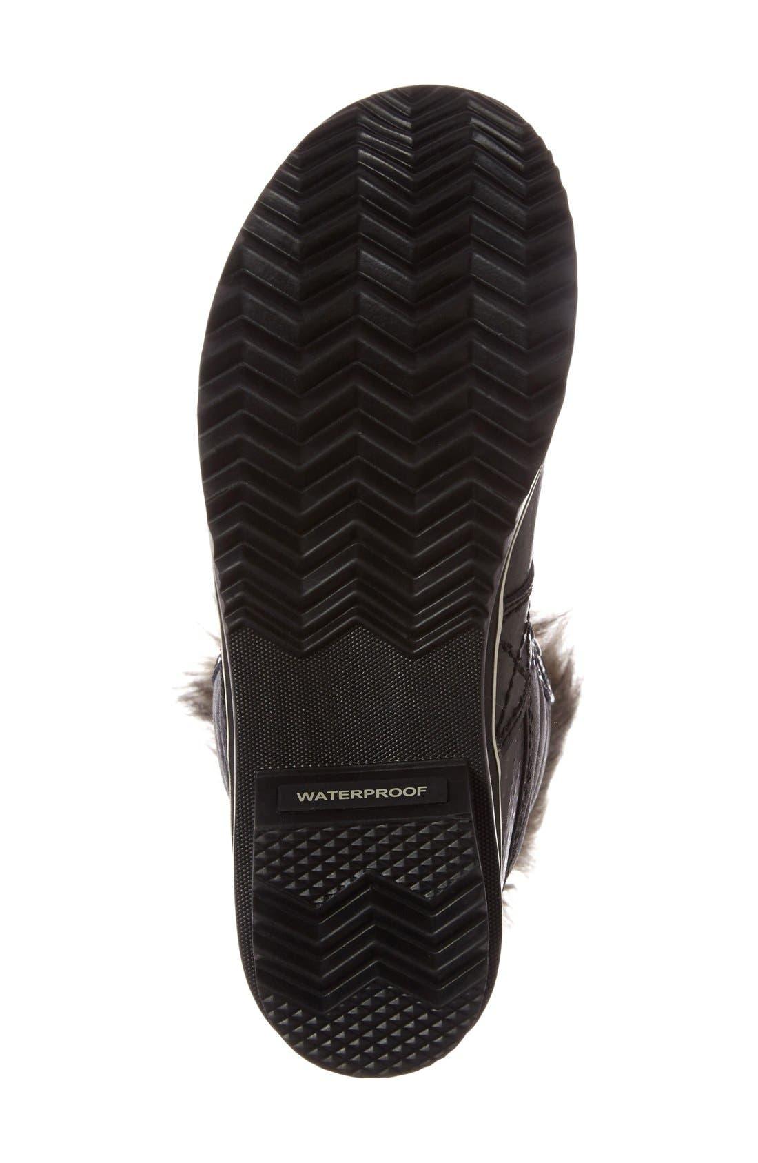 'Tofino II' Faux Fur Lined Waterproof Boot,                             Alternate thumbnail 3, color,                             BLACK