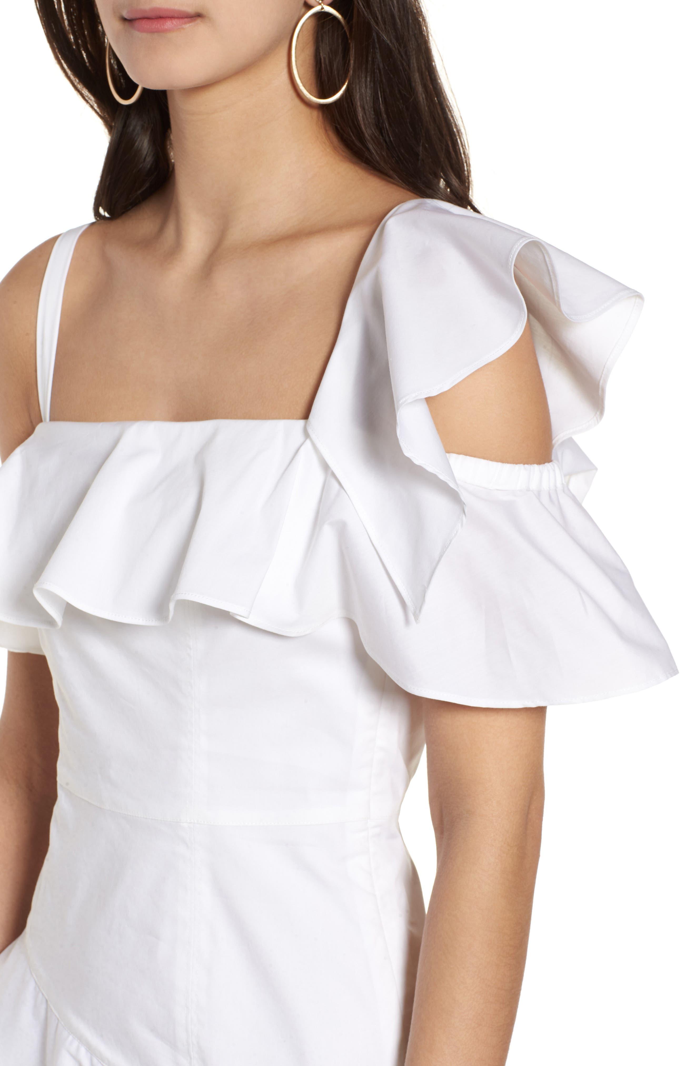 Ruffle One-Shoulder Dress,                             Alternate thumbnail 11, color,