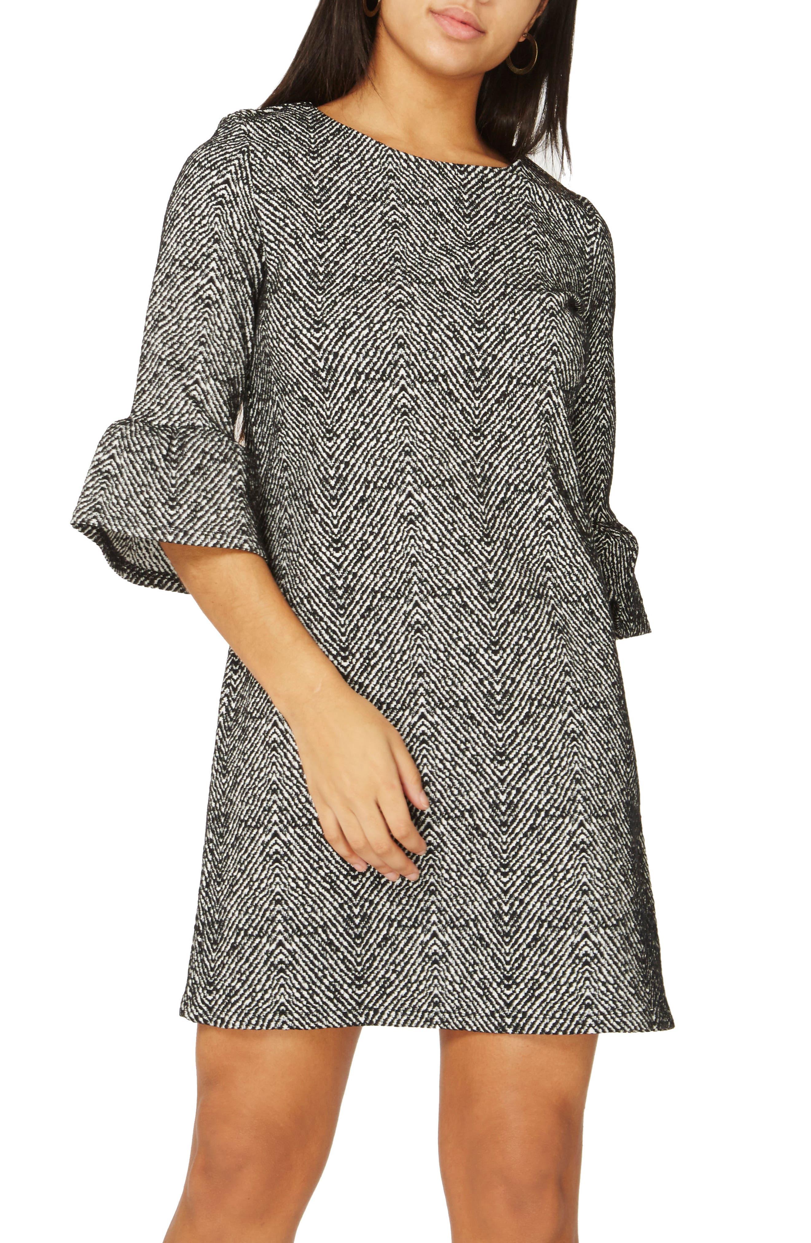 Herringbone Shift Dress,                         Main,                         color, 001