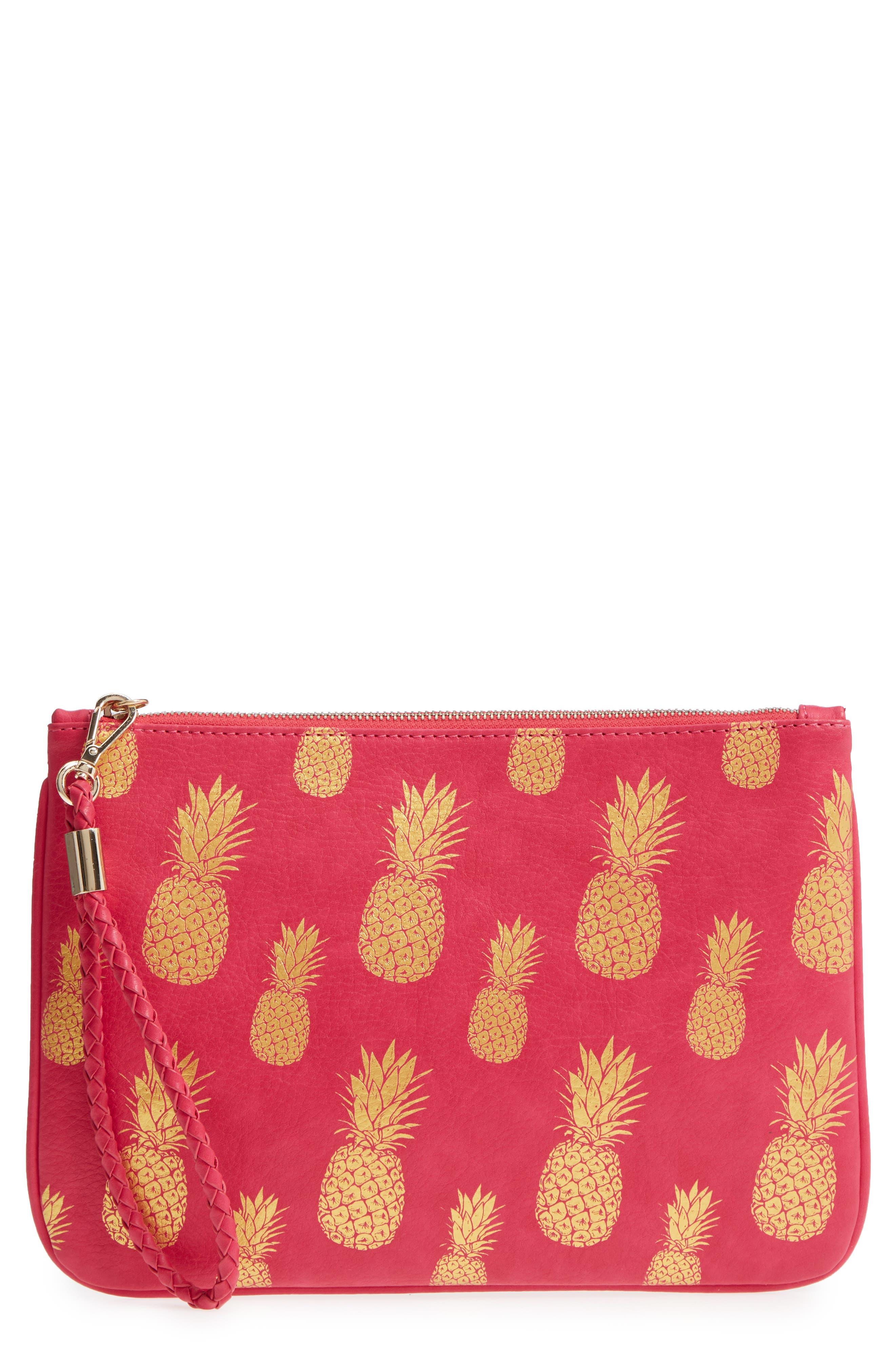 Mali + Lili Alice Pineapple Print Vegan Leather Clutch,                             Main thumbnail 1, color,                             HOT PINK