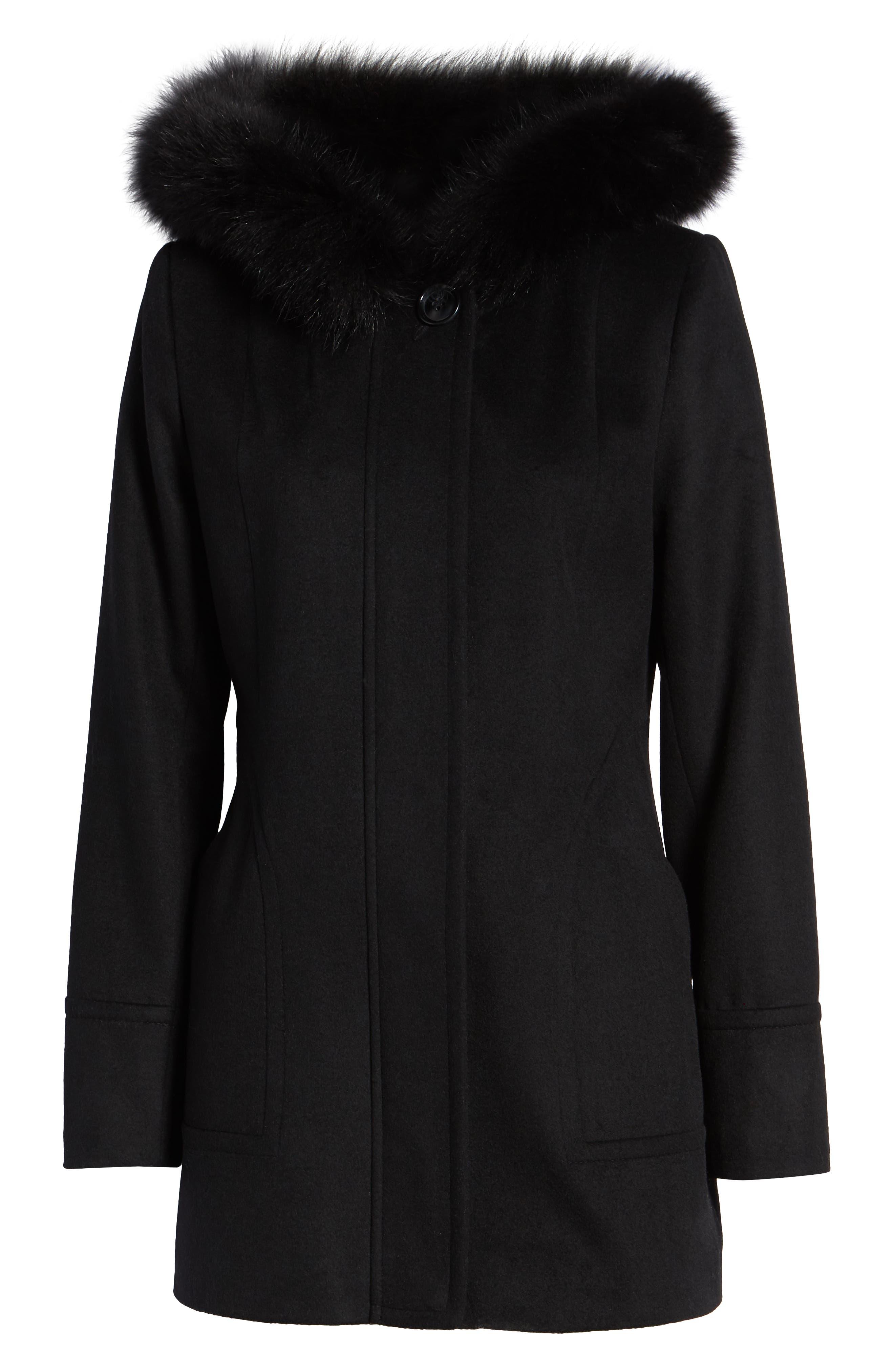Genuine Fox Fur Trim Hooded Wool Coat,                             Alternate thumbnail 6, color,                             001