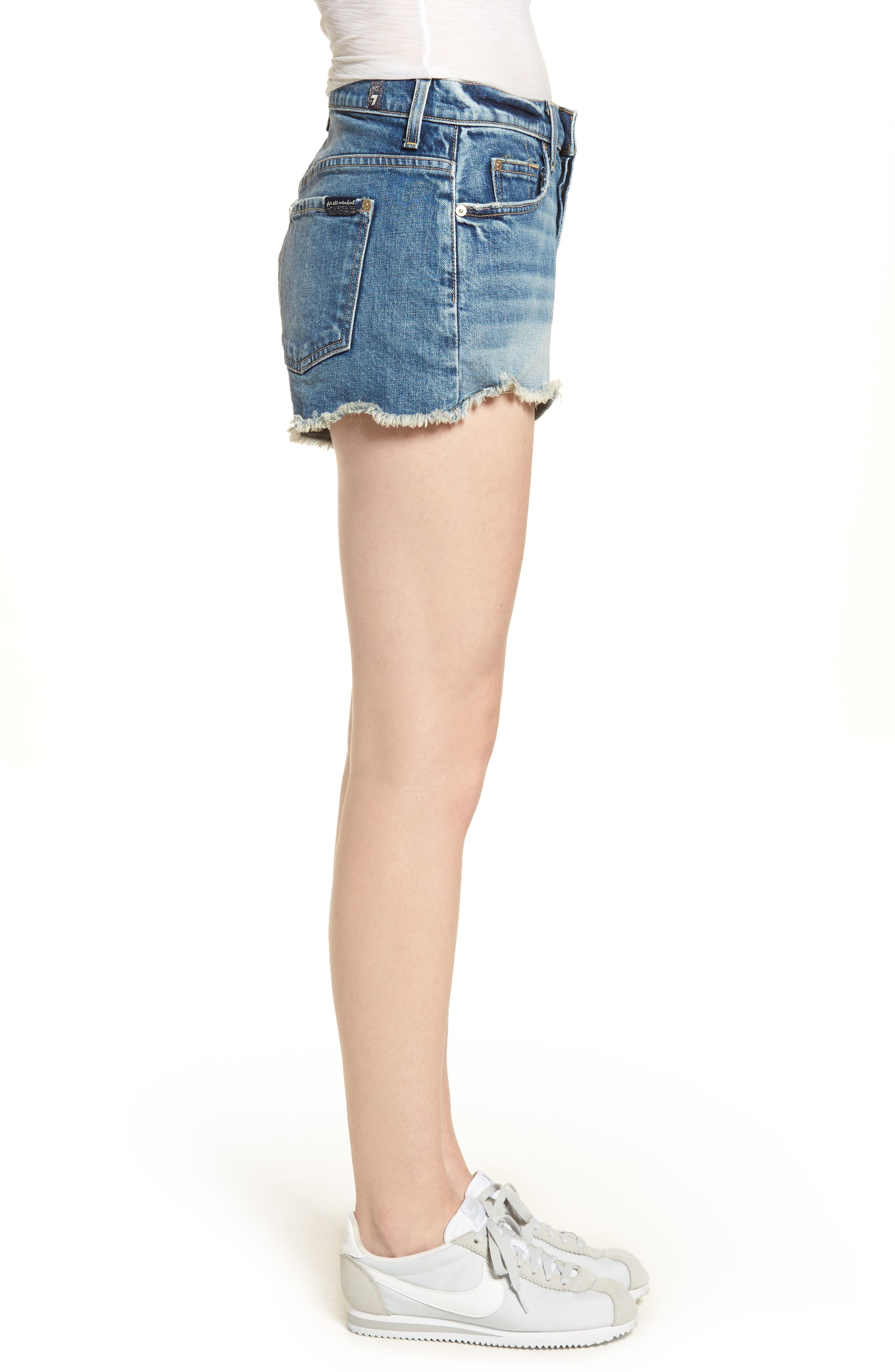 High Waist Cutoff Wave Hem Denim Shorts,                             Alternate thumbnail 3, color,                             400