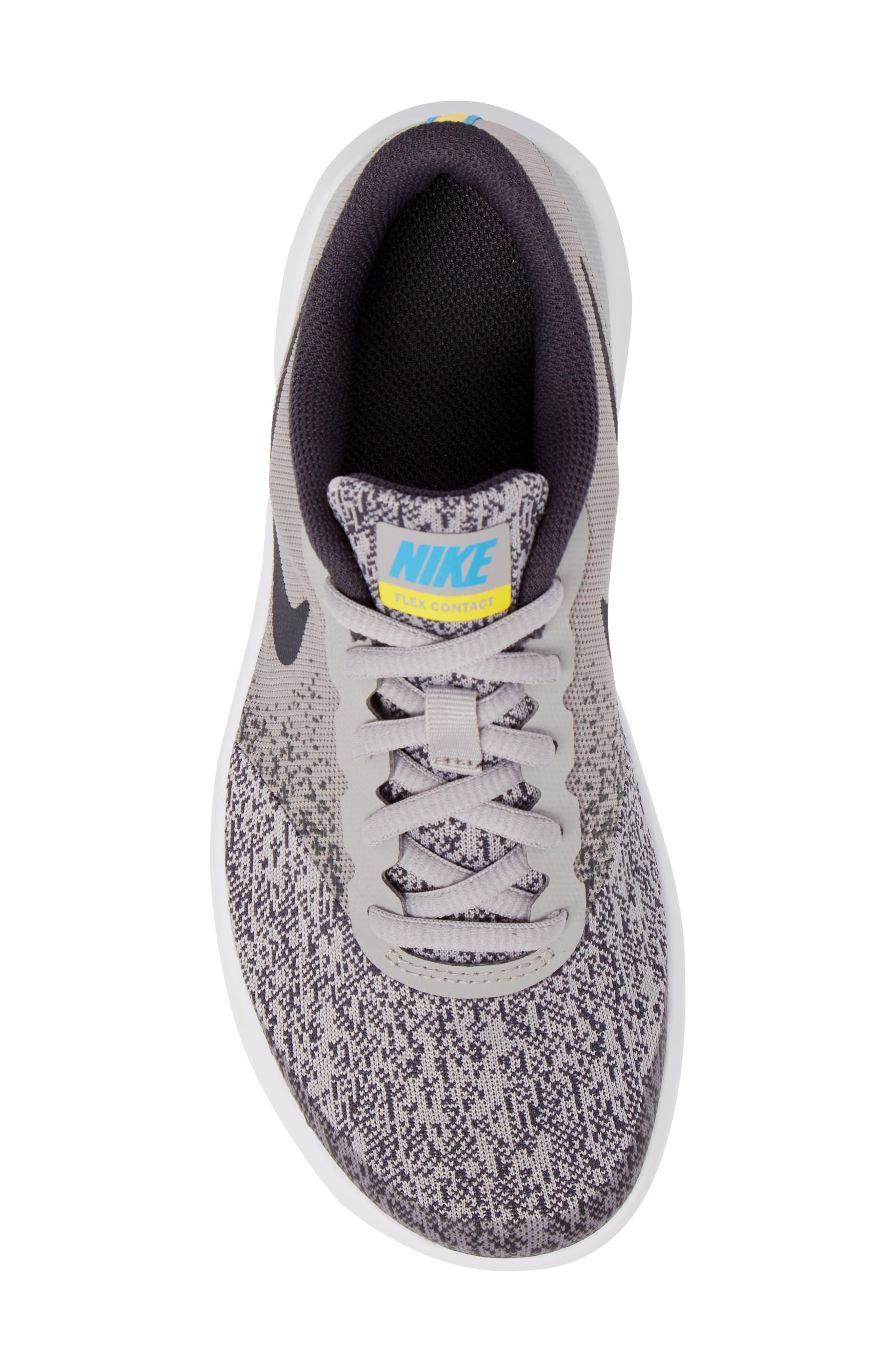 Flex Contact Running Shoe,                             Alternate thumbnail 5, color,                             ATMOSPHERE GREY/ LASER ORANGE
