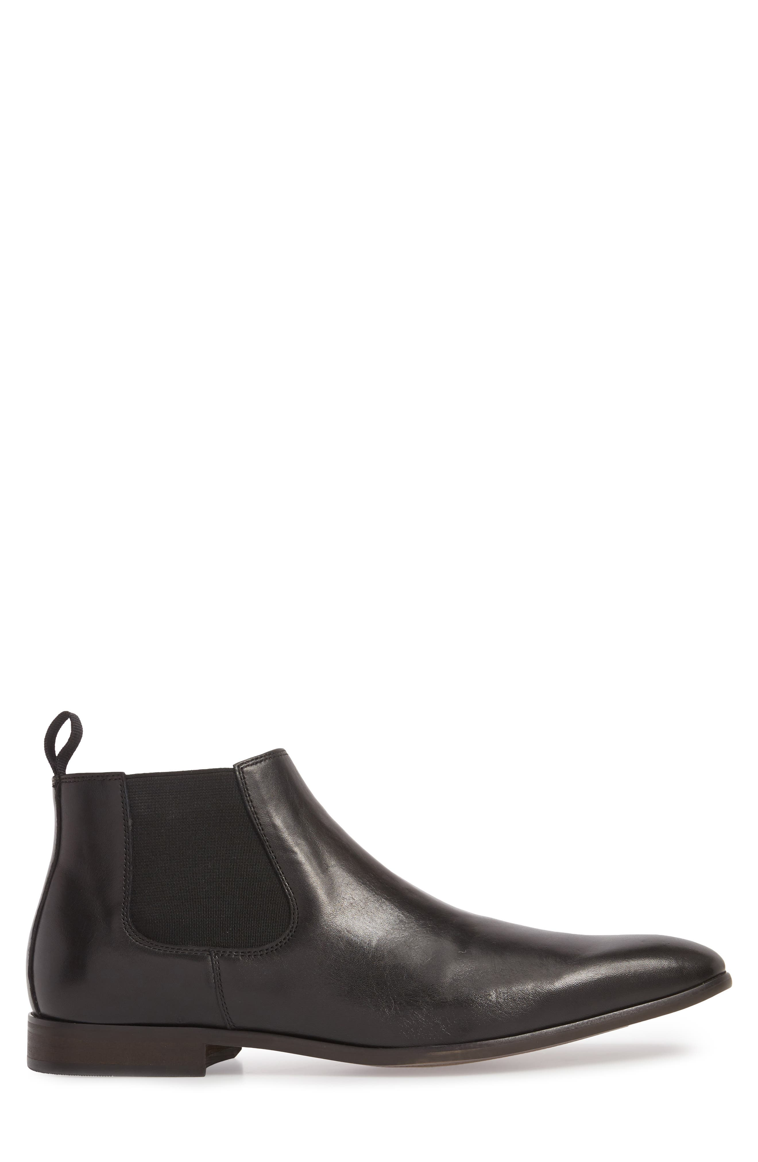 Edward Chelsea Boot,                             Alternate thumbnail 3, color,                             BLACK LEATHER