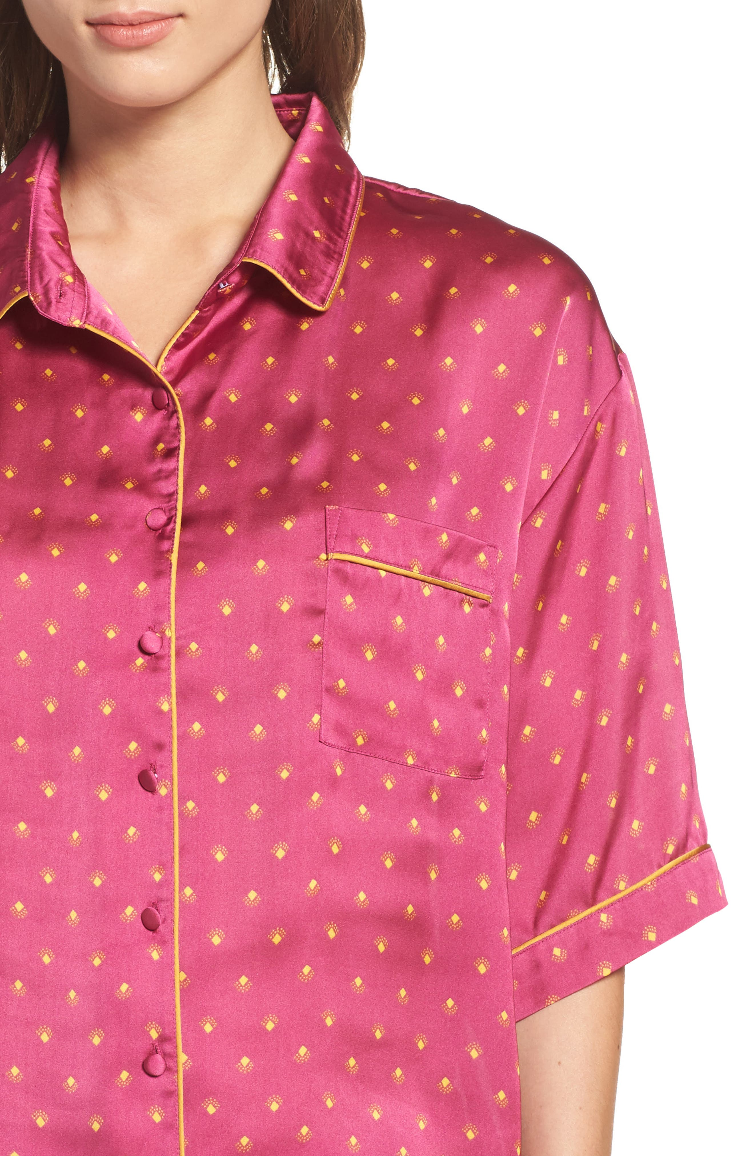 Short Satin Pajamas,                             Alternate thumbnail 12, color,