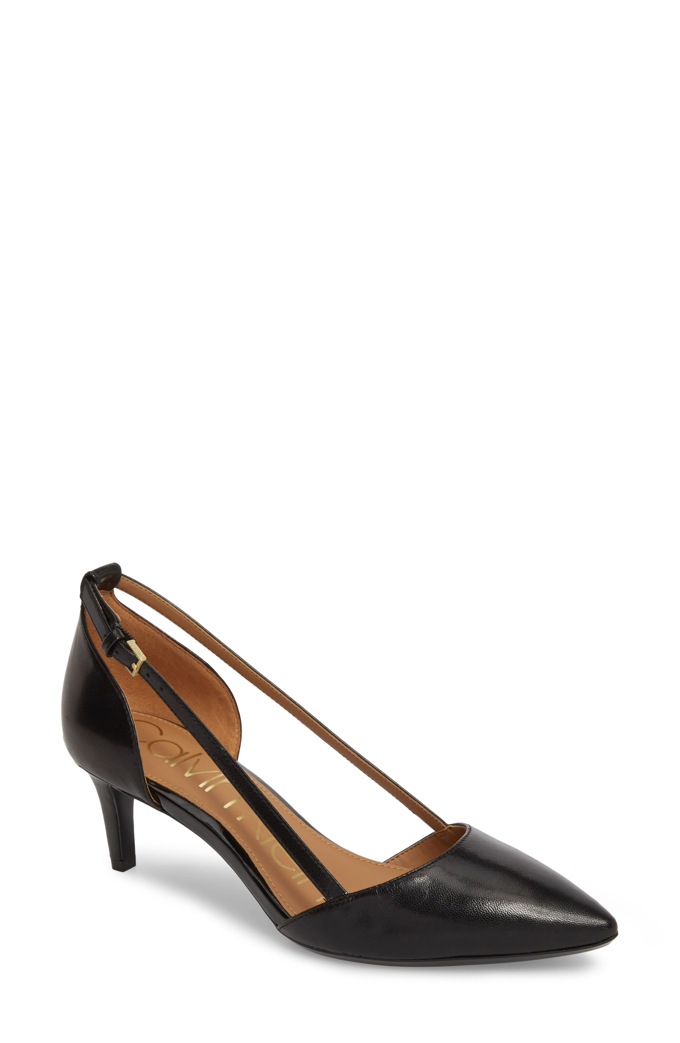 Pashka Strappy Open Sided Pump,                         Main,                         color, BLACK LEATHER
