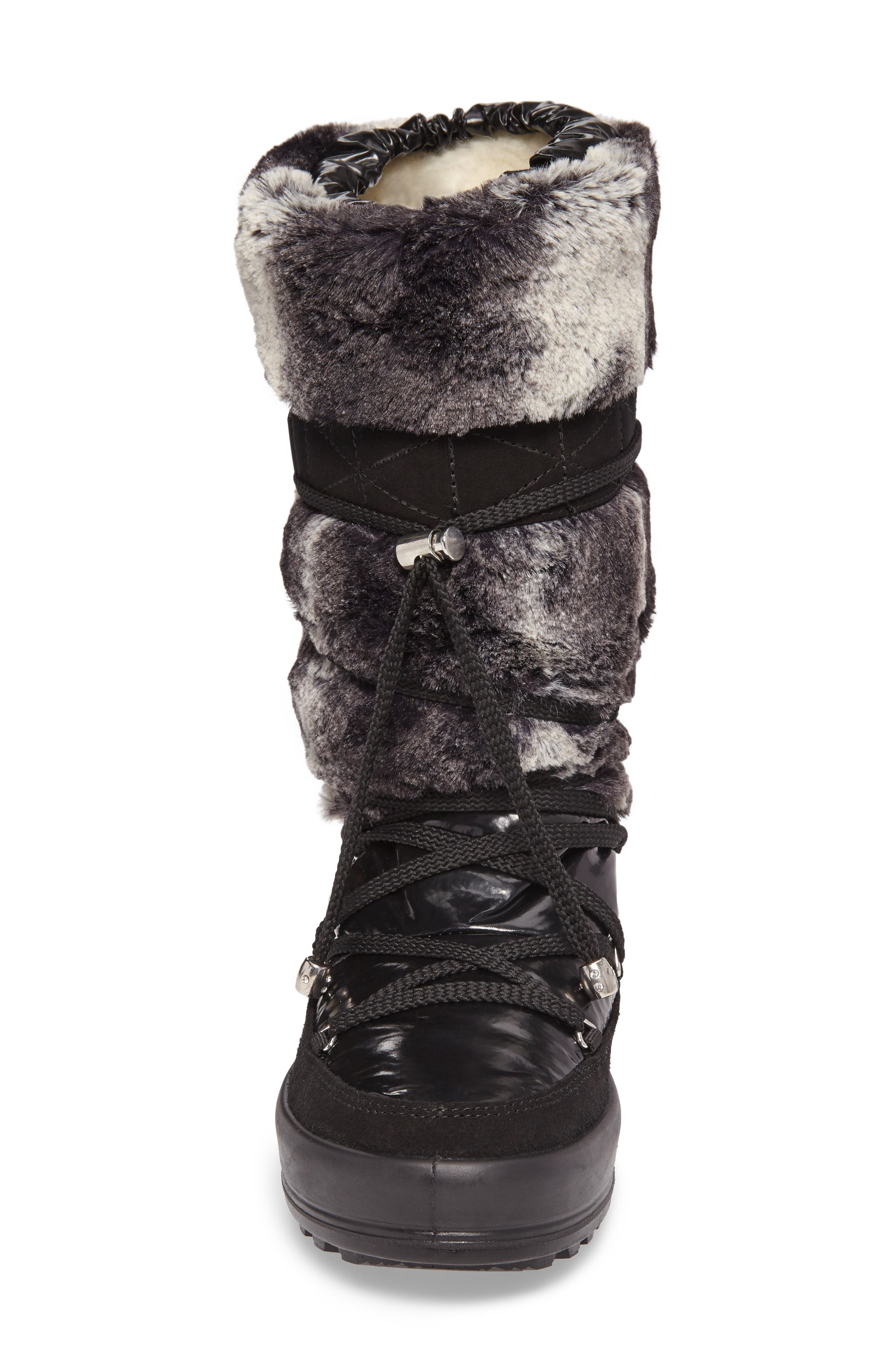 Kitzbuhel Faux Fur Waterproof Quilted Boot,                             Alternate thumbnail 4, color,                             004
