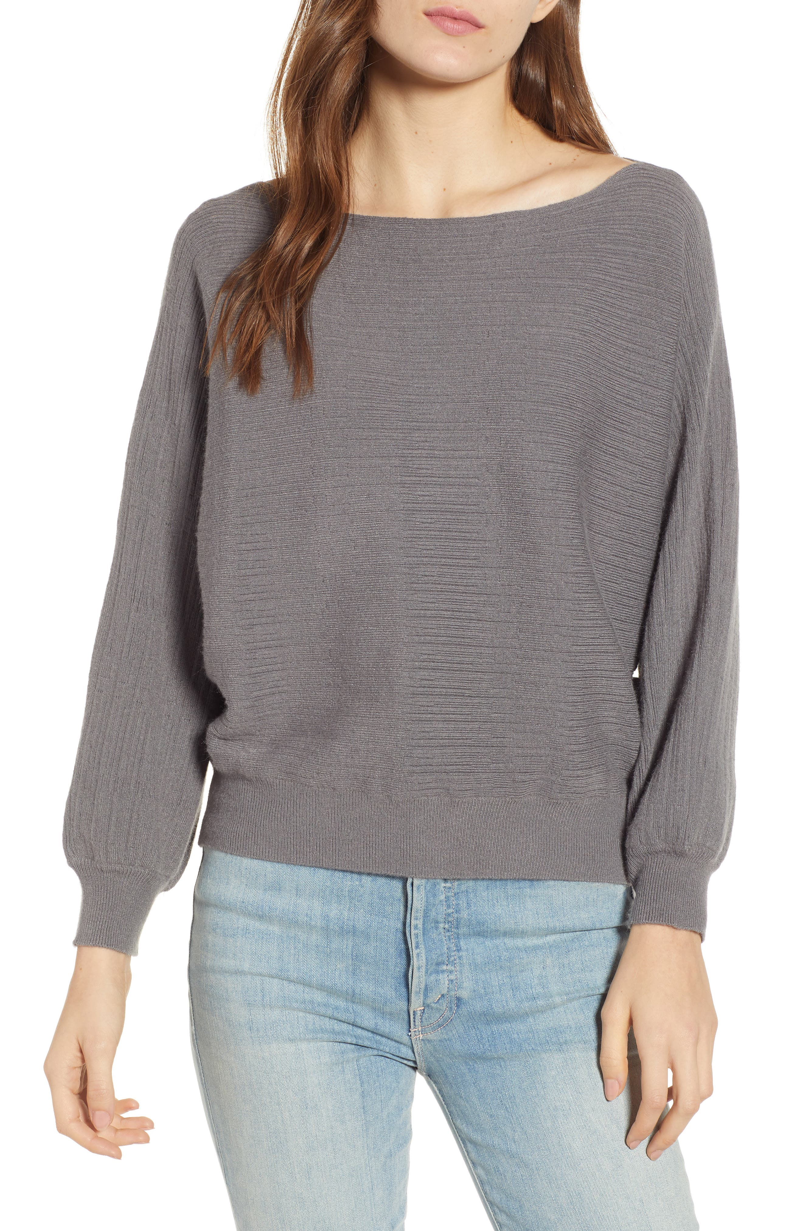 Dolman Boat Neck Sweater,                             Main thumbnail 1, color,                             STEEL GRAY