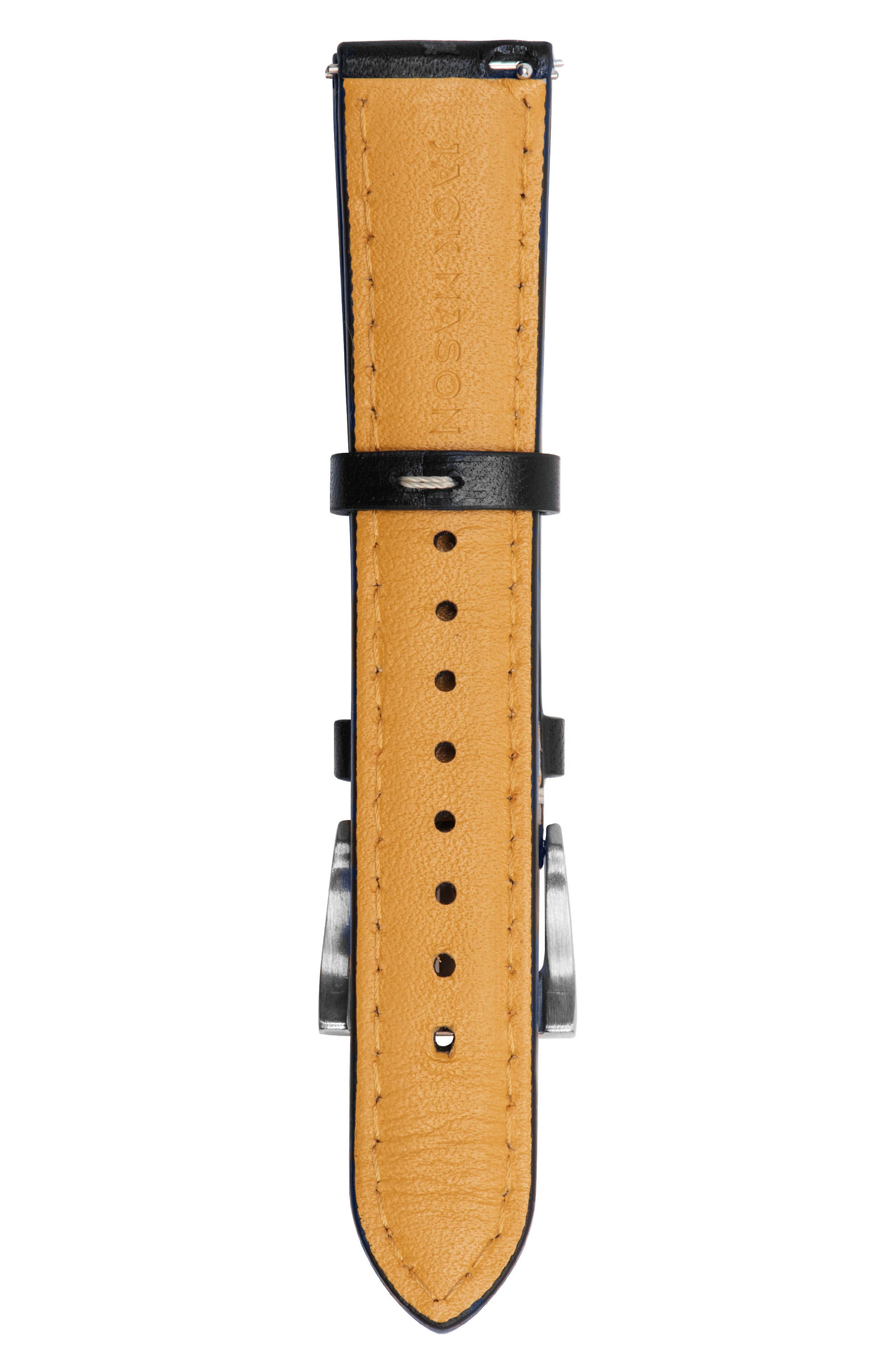 Leather Watch Strap, 18mm,                             Alternate thumbnail 2, color,                             001