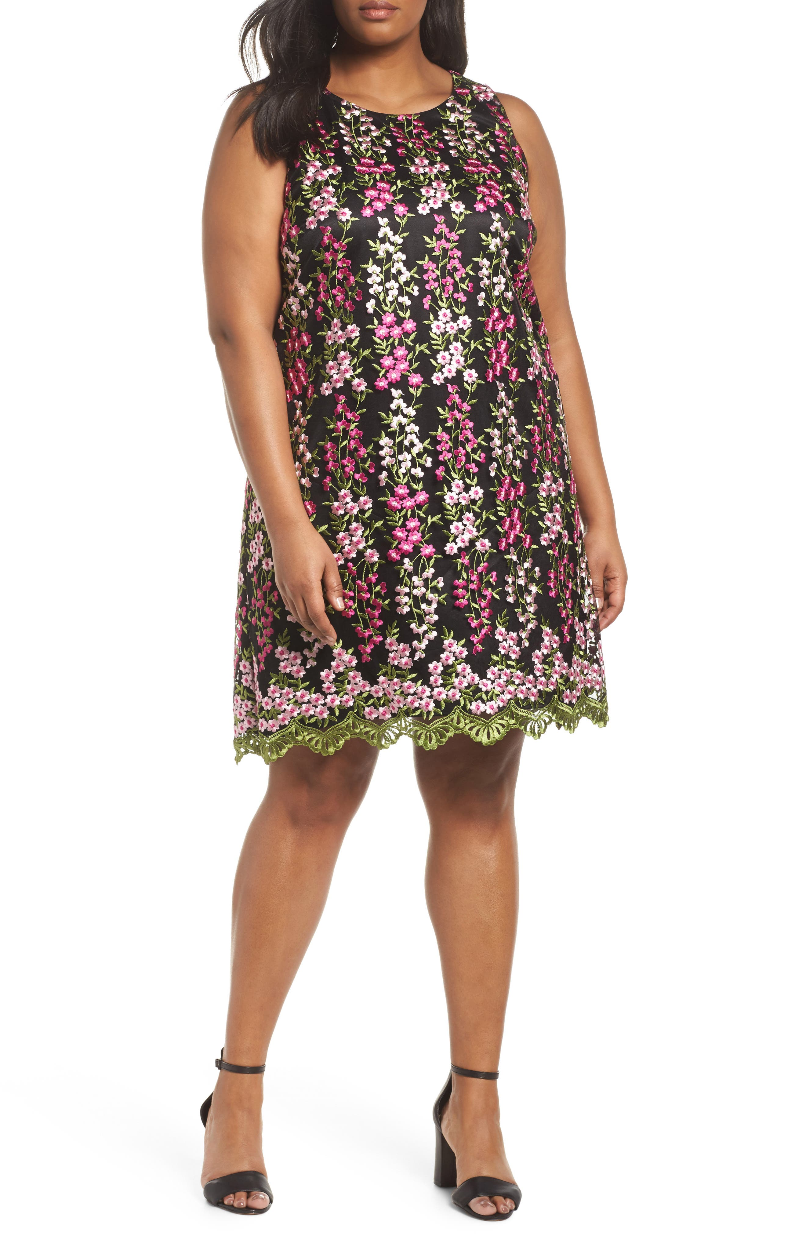Embroidered Floral Shift Dress,                             Main thumbnail 1, color,                             001