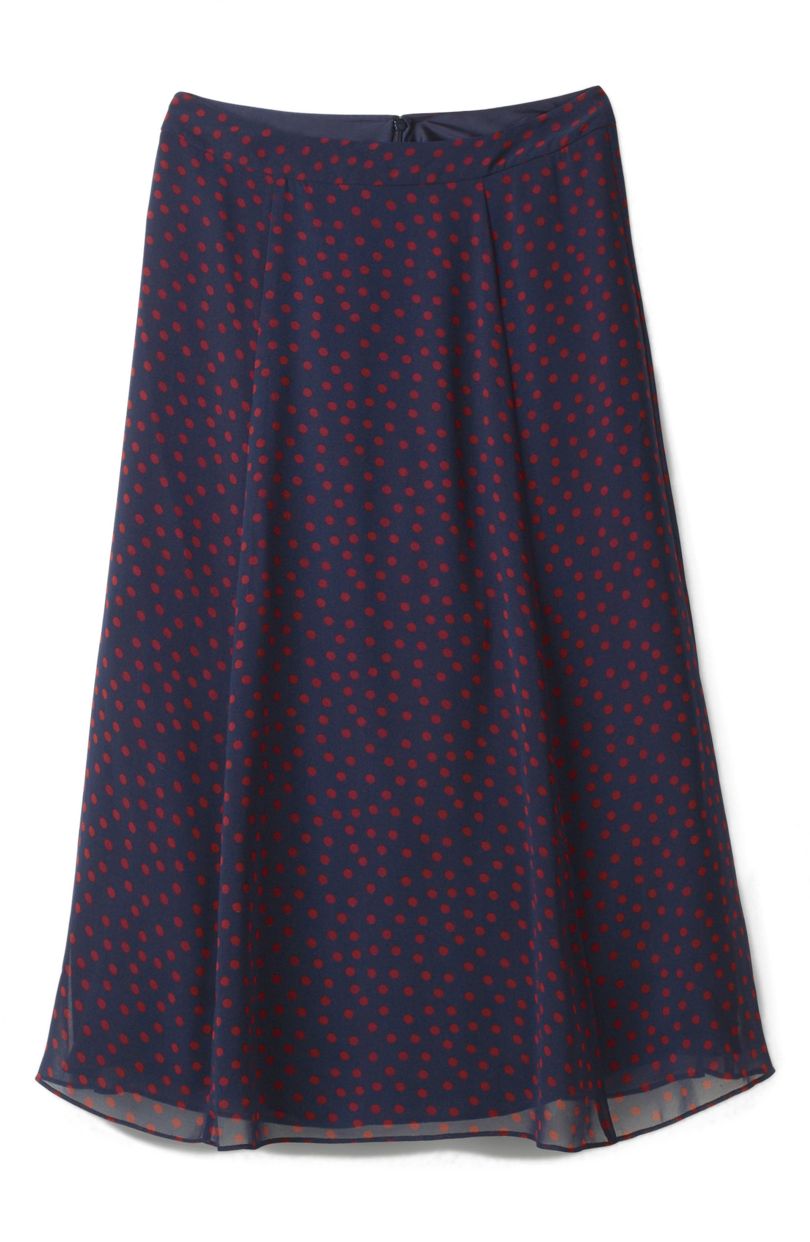 Polka Dot A-Line Skirt,                             Alternate thumbnail 4, color,                             934