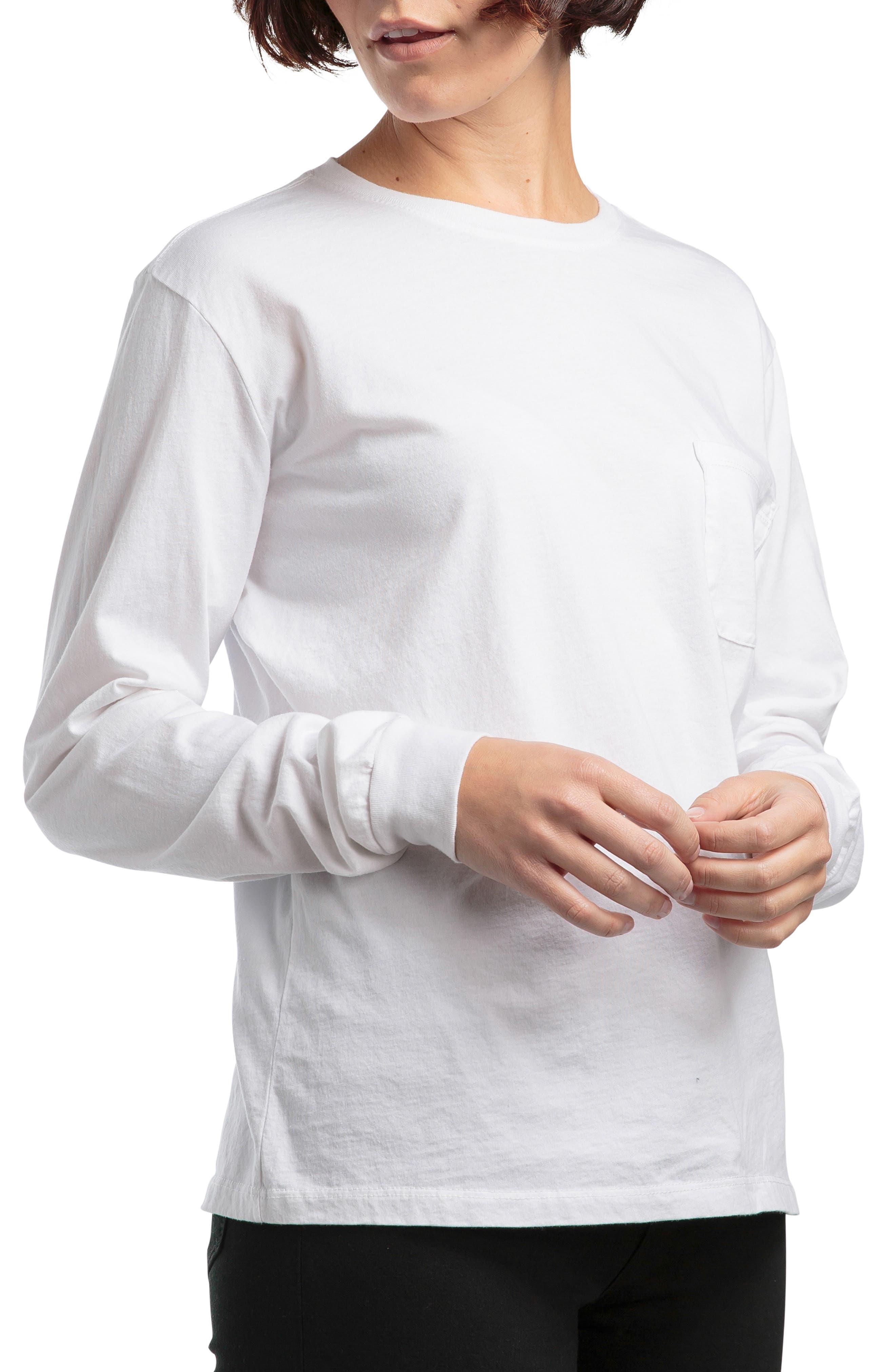 Long Sleeve Pocket Tee,                         Main,                         color, WHITE