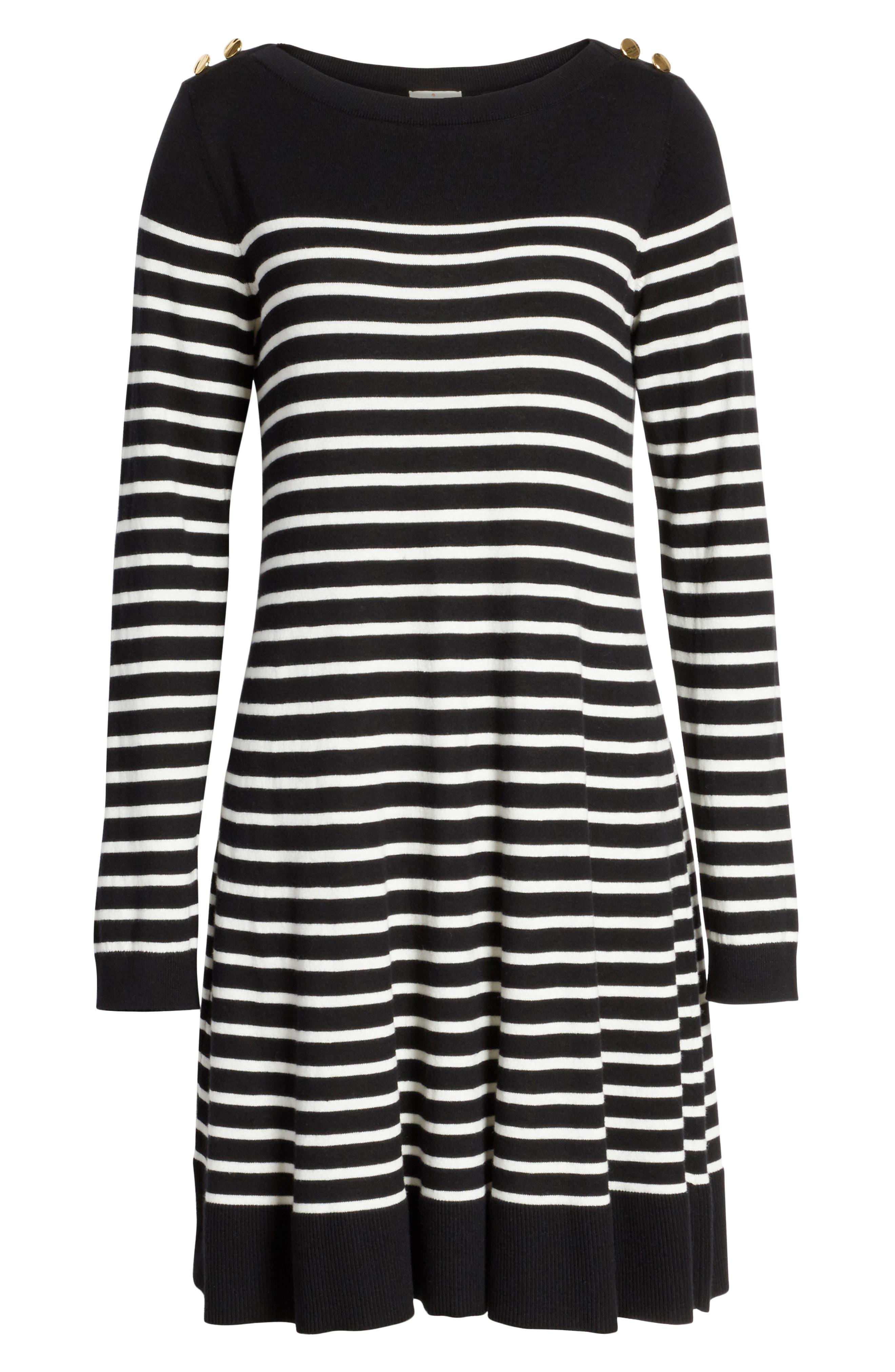 stripe swing sweater dress,                             Alternate thumbnail 6, color,                             003
