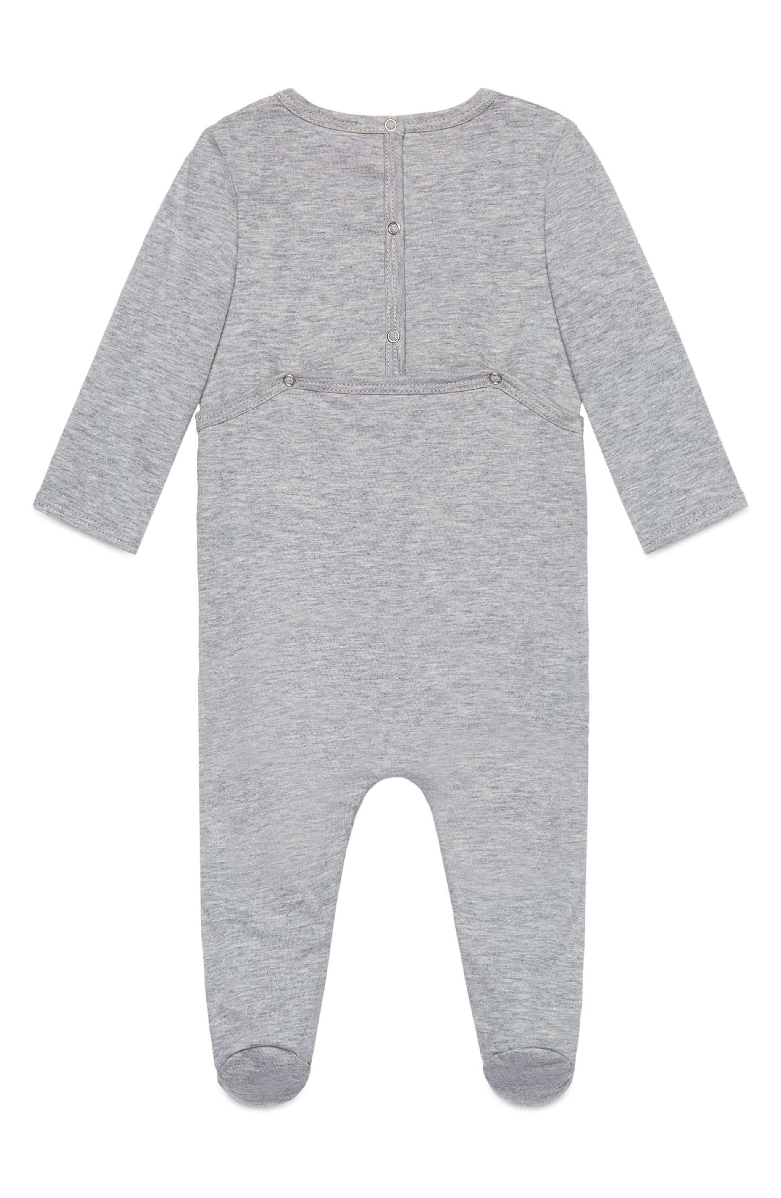 Graphic Cotton Romper,                             Alternate thumbnail 2, color,                             LIGHT GREY/ GREEN/ RED