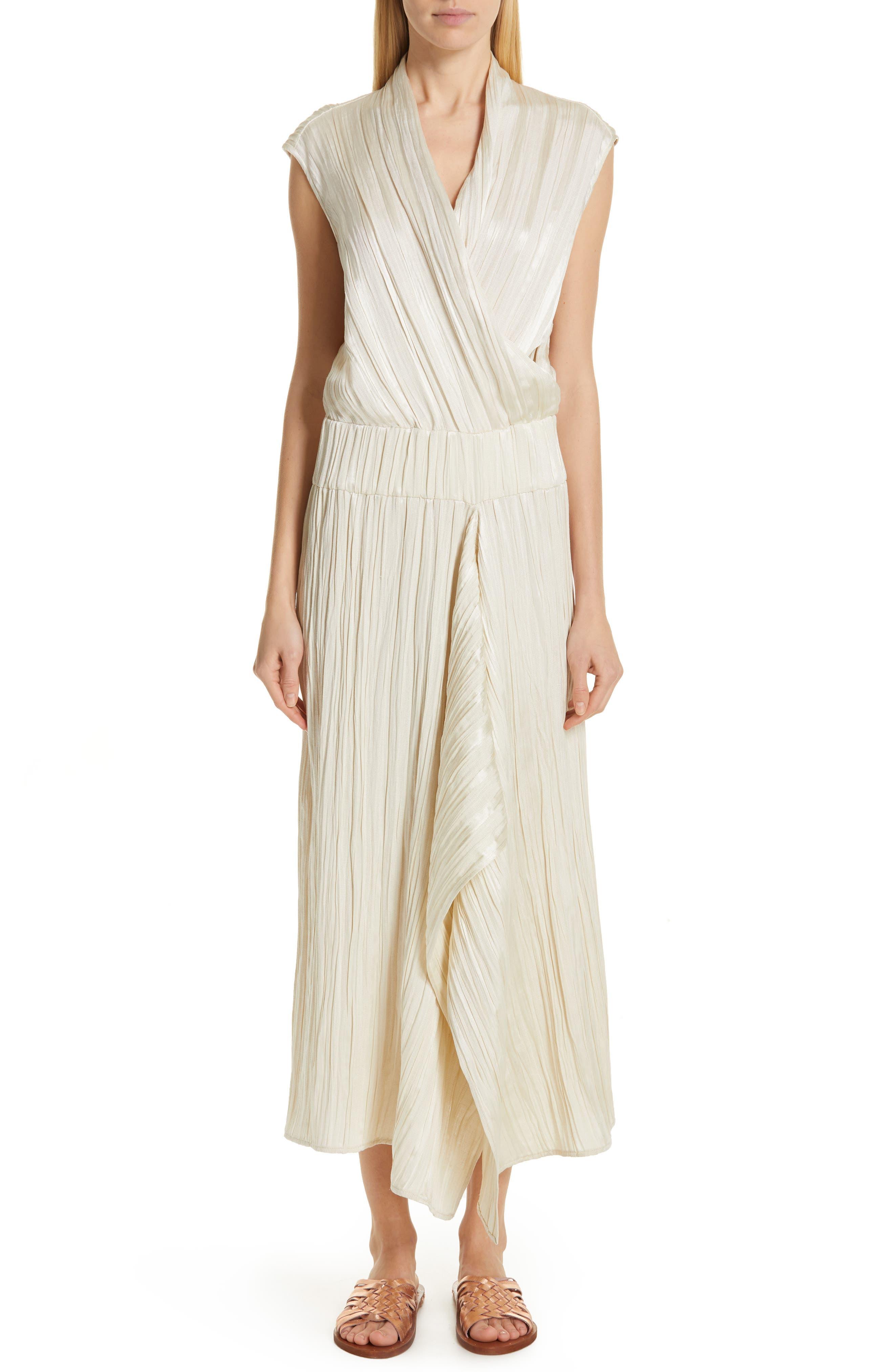 Zero + Maria Cornejo Plisse Linen & Silk Dress