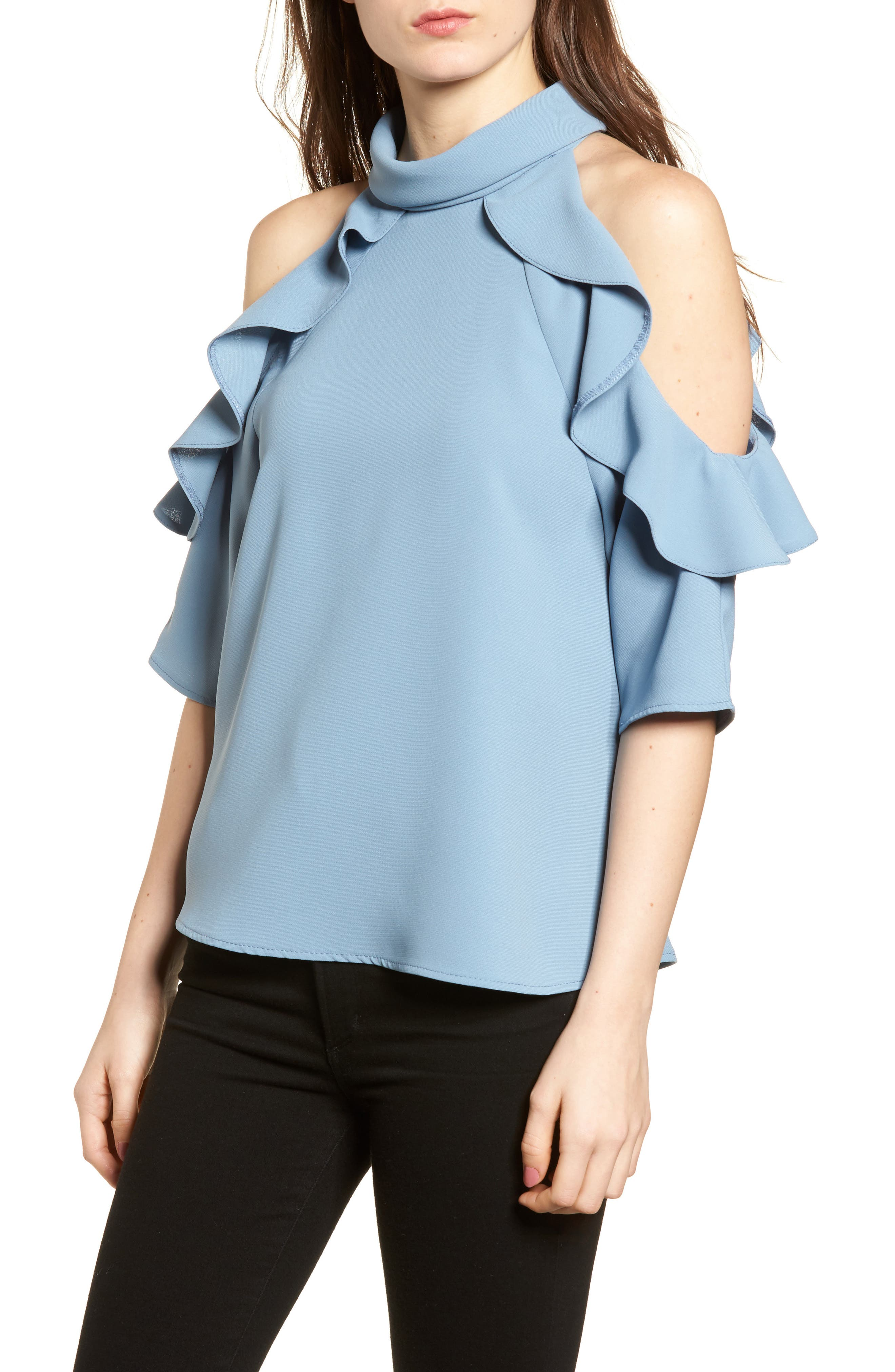 Ruffle Cold Shoulder Top,                             Main thumbnail 5, color,