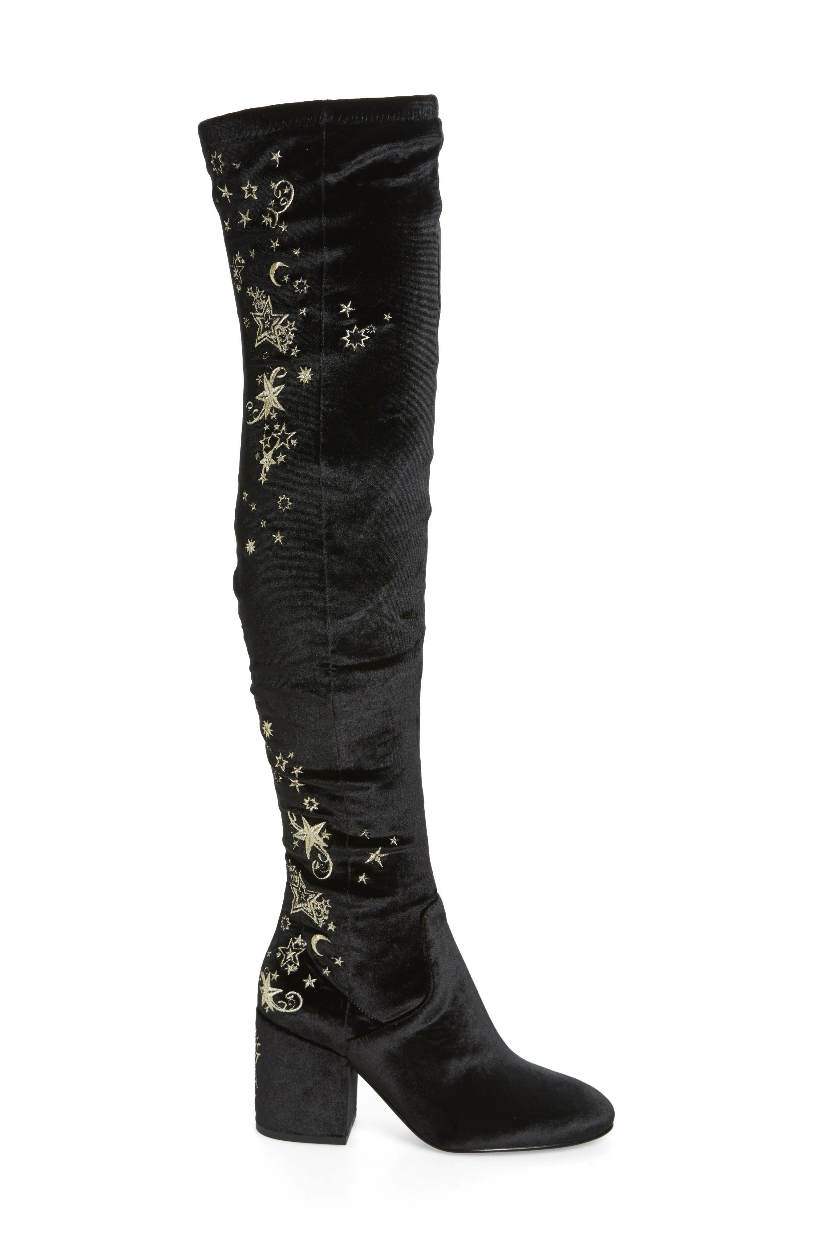 Eros Embroidered Velvet Over the Knee Boot,                             Alternate thumbnail 3, color,                             001