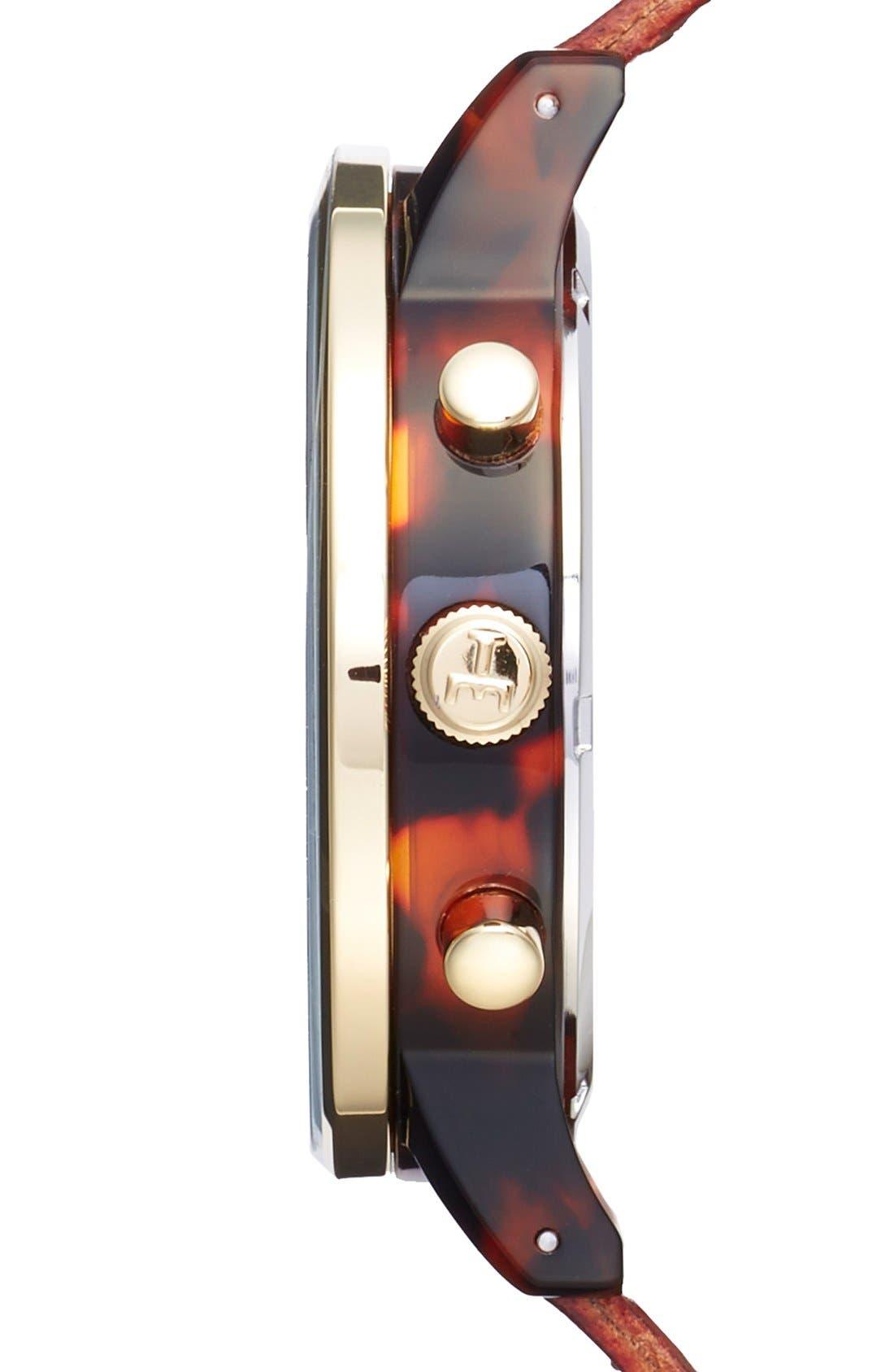 Blue Nevil Chronograph Leather Strap Watch, 38mm,                             Alternate thumbnail 3, color,                             COGNAC/ SILVER