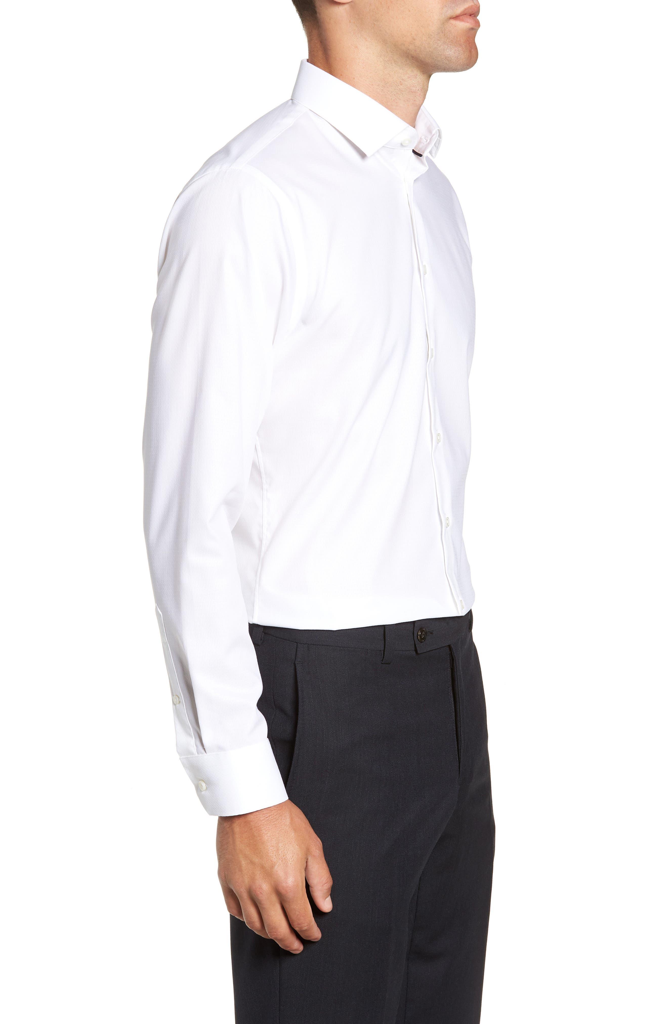 Trim Fit Stretch Solid Dress Shirt,                             Alternate thumbnail 4, color,                             WHITE