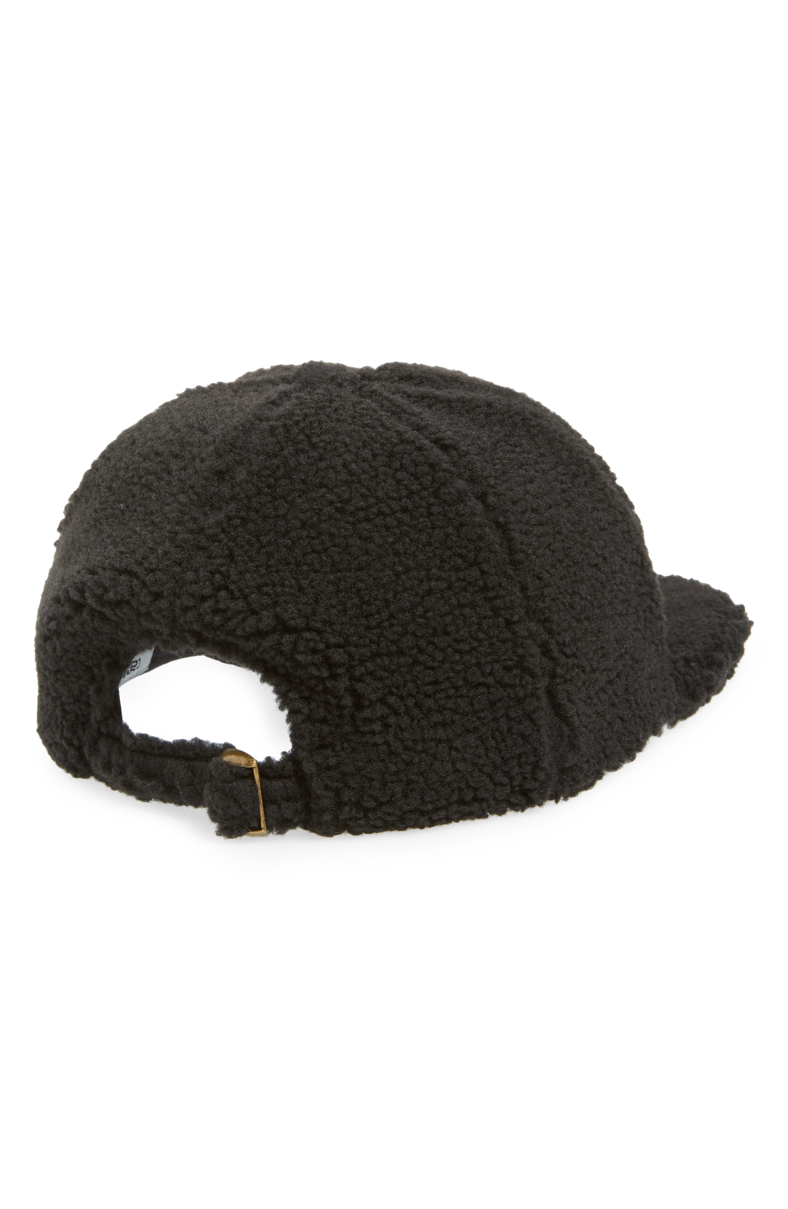 Pile Faux Shearling Cap,                             Alternate thumbnail 2, color,                             BLACK / WAX