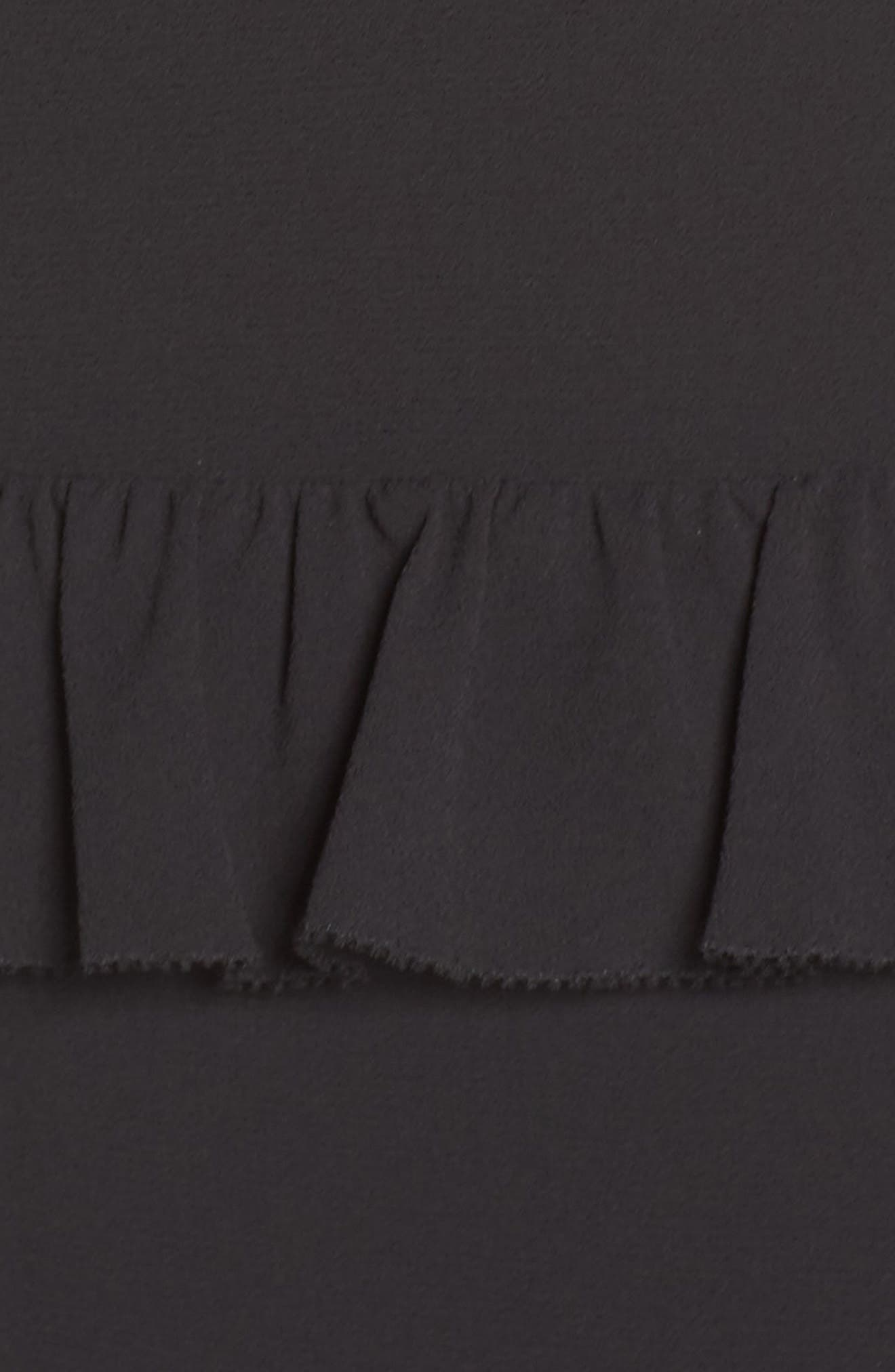 Tiered Ruffle Midi Dress,                             Alternate thumbnail 6, color,                             BLACK