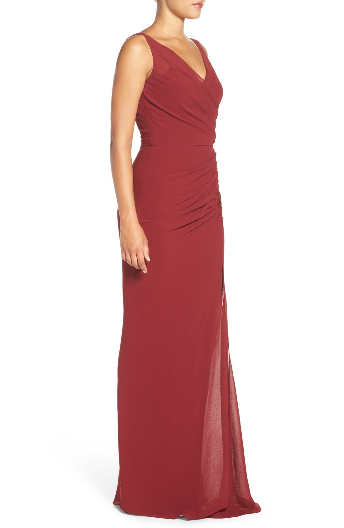 Wrap Front Chiffon Gown,                             Alternate thumbnail 9, color,
