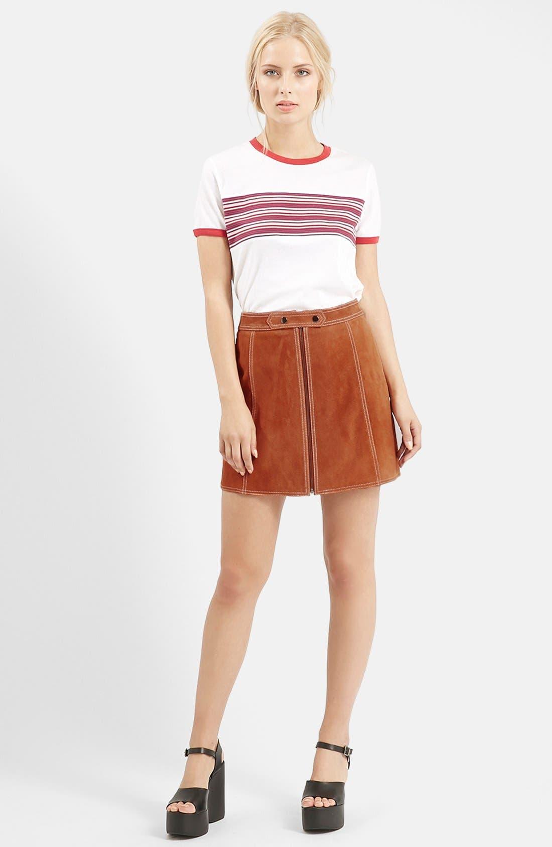 Suede A-Line Miniskirt,                             Alternate thumbnail 6, color,                             610
