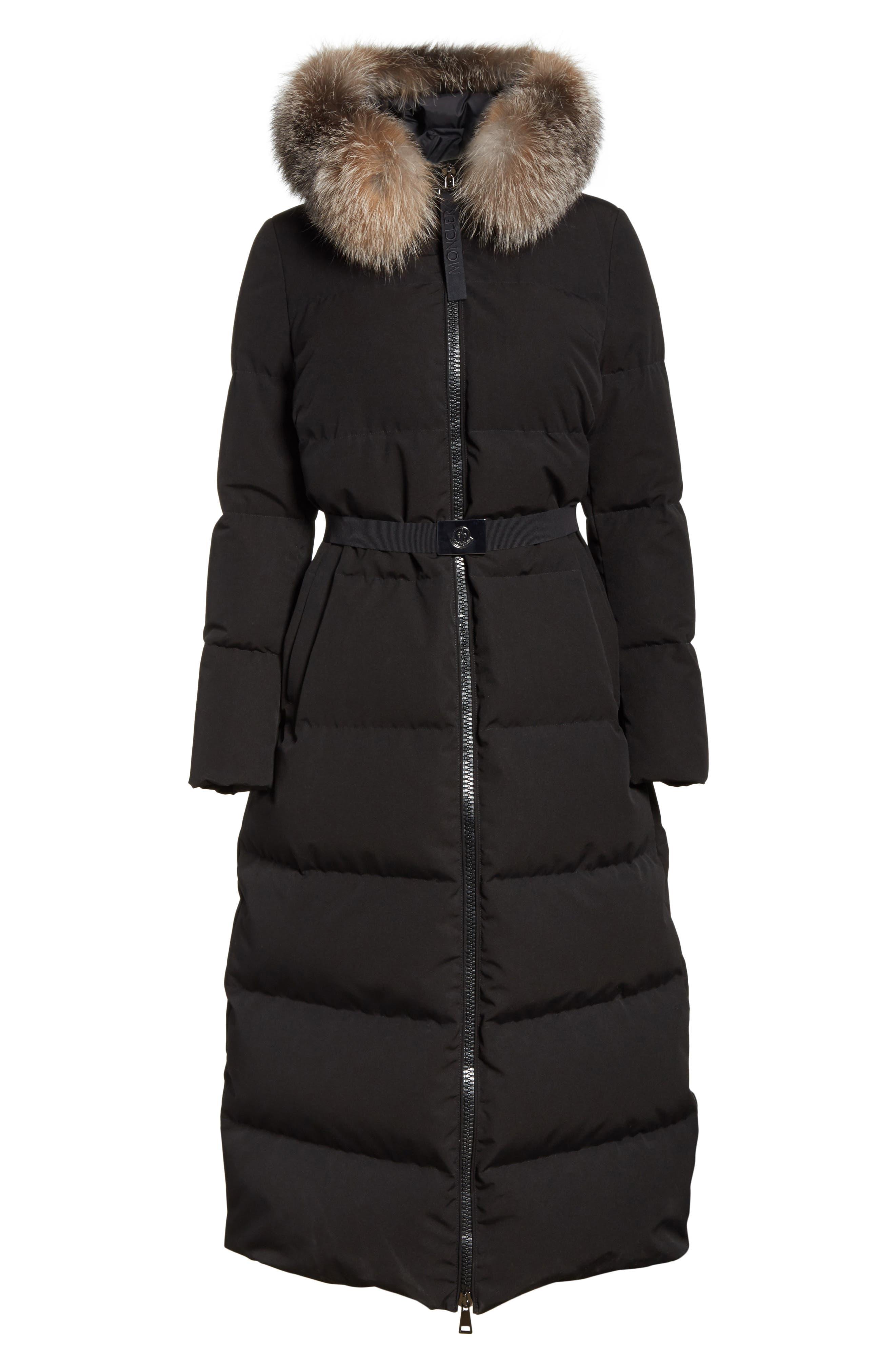 Bernache Hooded Down Coat with Removable Genuine Fox Fur Trim,                             Alternate thumbnail 5, color,                             BLACK
