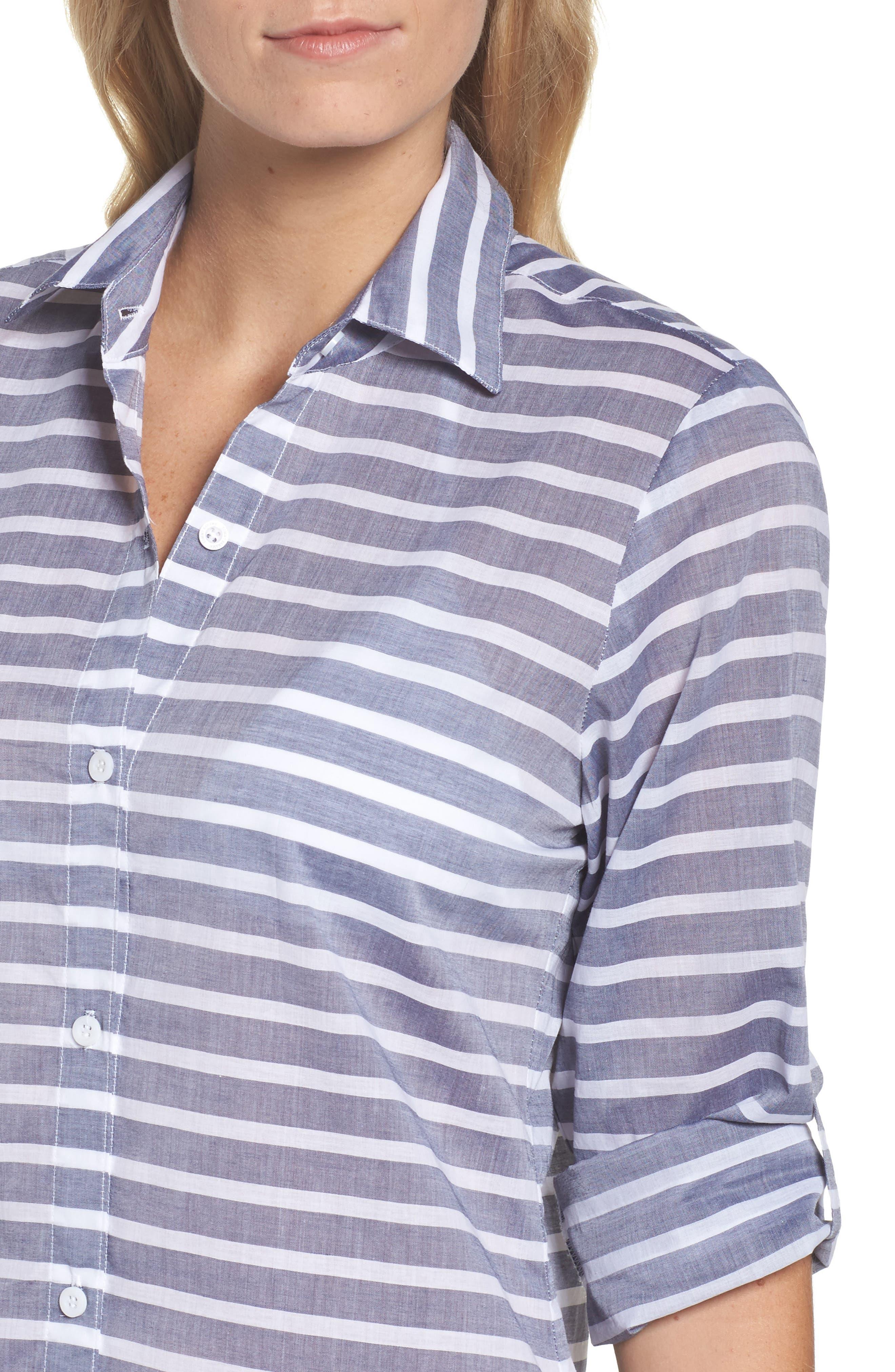 Brenton Stripe Boyfriend Shirt Cover-Up,                             Alternate thumbnail 4, color,                             401